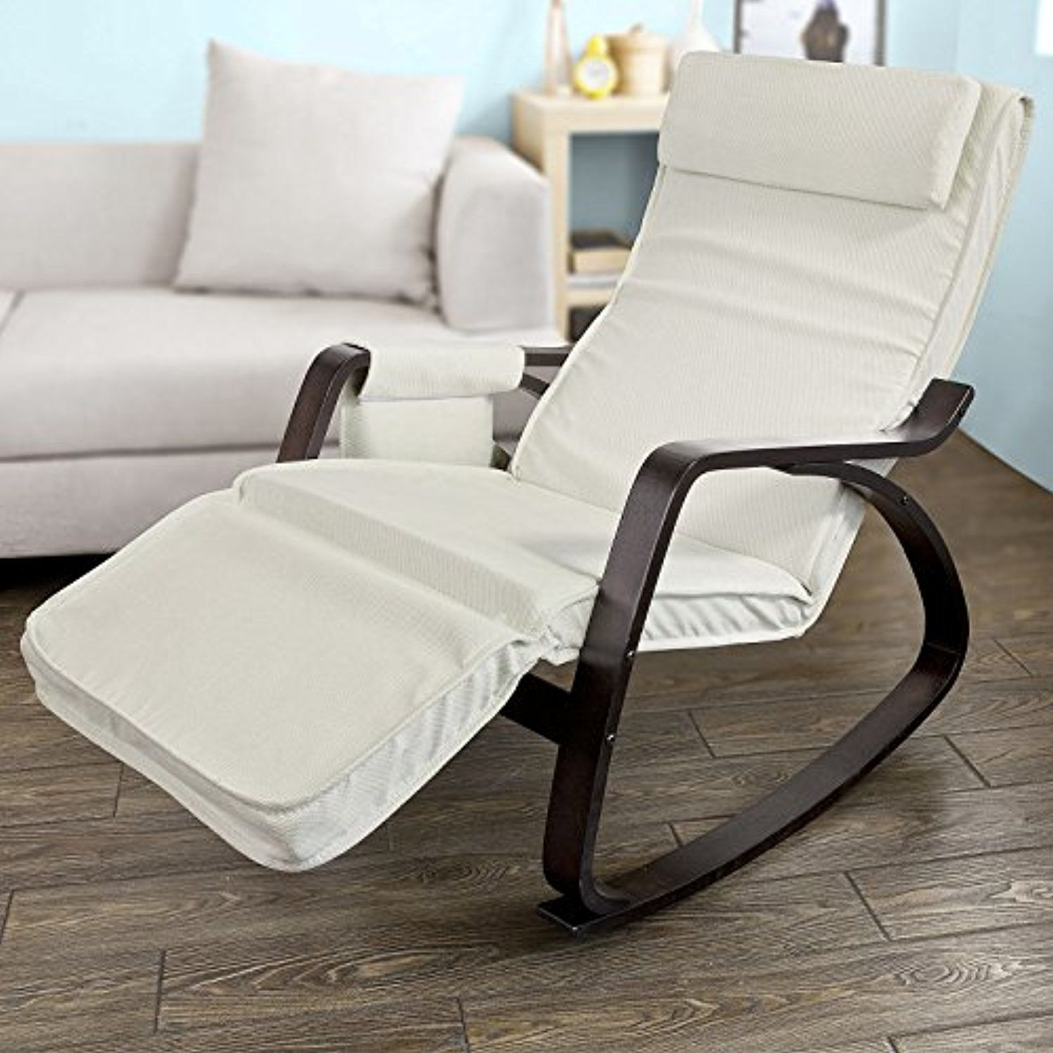 Haotian Comfortable Relax Rocking Chair With Foot Rest In Poly And Bark Blue Rocking Chairs Lounge Chairs (#5 of 20)