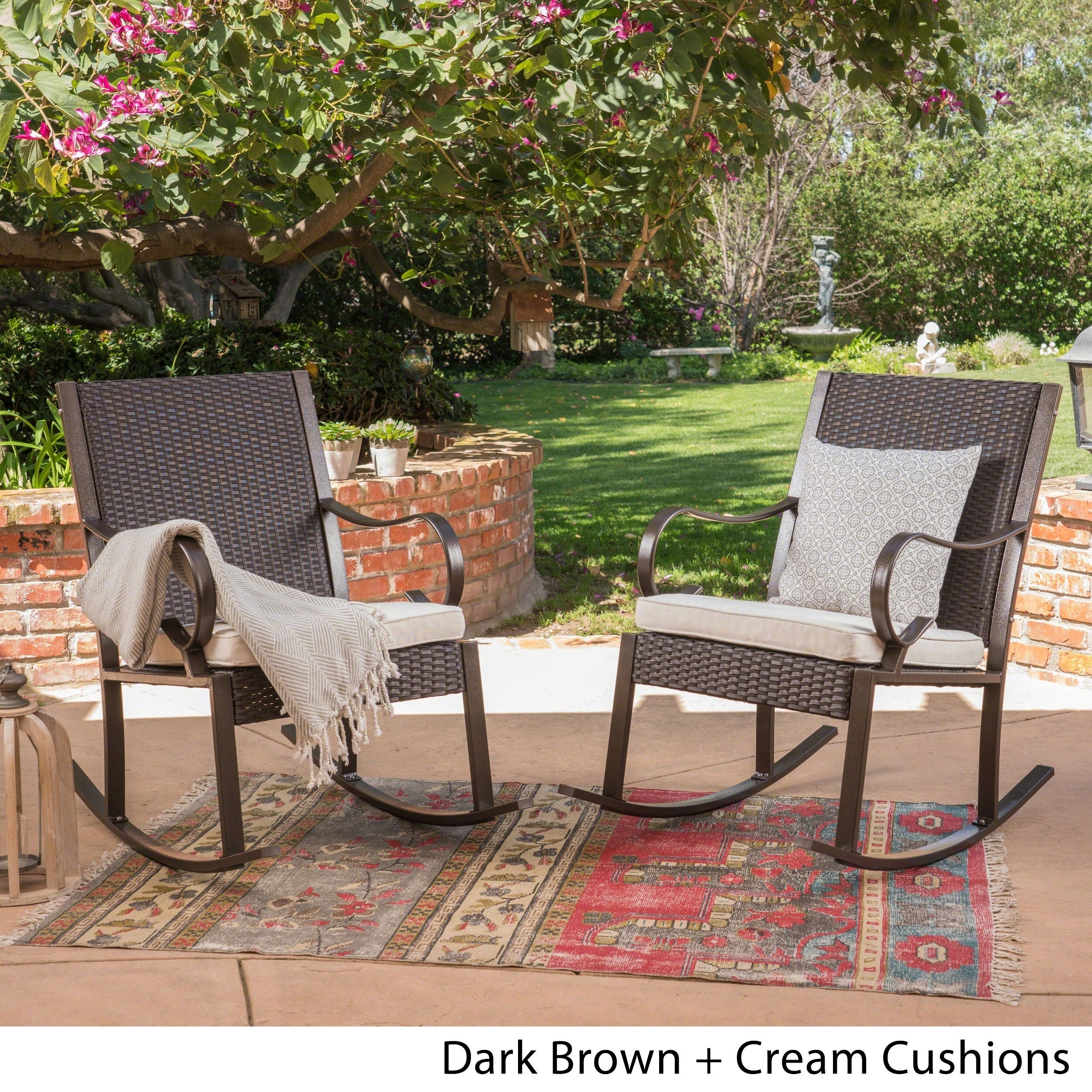 Harmony Outdoor Rocking Chair (Set Of 2)Christopher Knight Home Inside Rocking Chairs, Cream And Brown (#8 of 20)