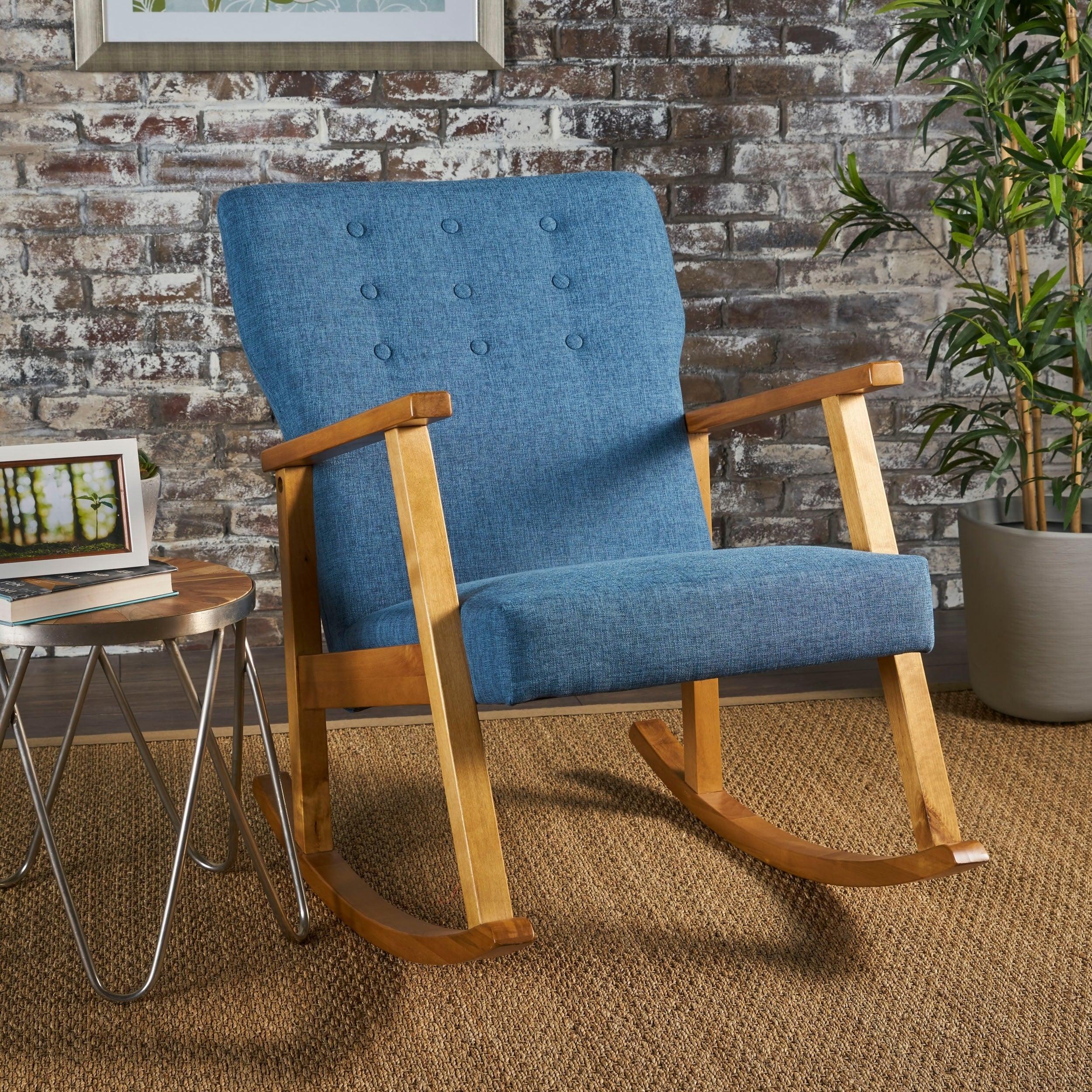 Popular Photo of Harvey Mid Century Modern Fabric Rocking Chairs