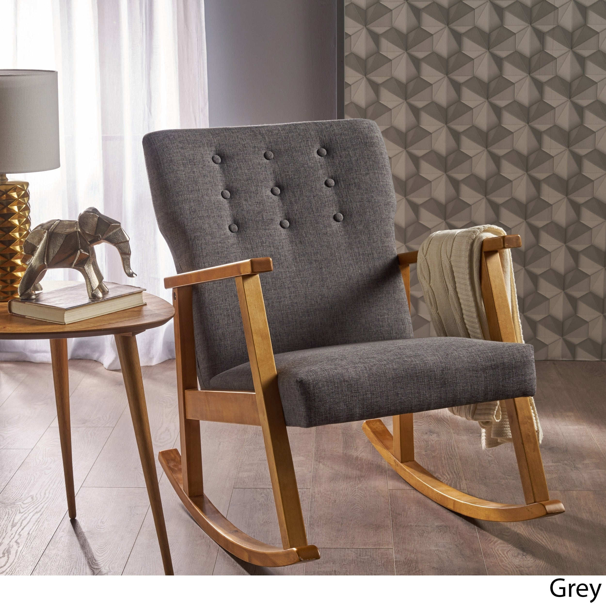 Harvey Mid Century Modern Fabric Rocking Chairchristopher Knight Home Within Harvey Mid Century Modern Fabric Rocking Chairs (View 3 of 20)