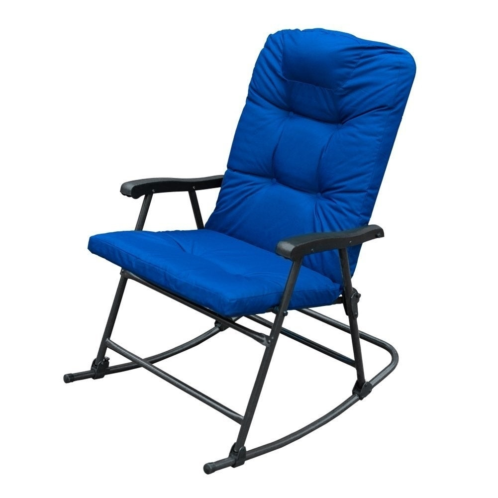 Havenside Home Chetumal Blue Cushion Folding Patio Rocking Chairs (Set Of 2) In Folding Bentwood Rocking Chairs With Extendable Footrest And Removable Cover (#17 of 20)