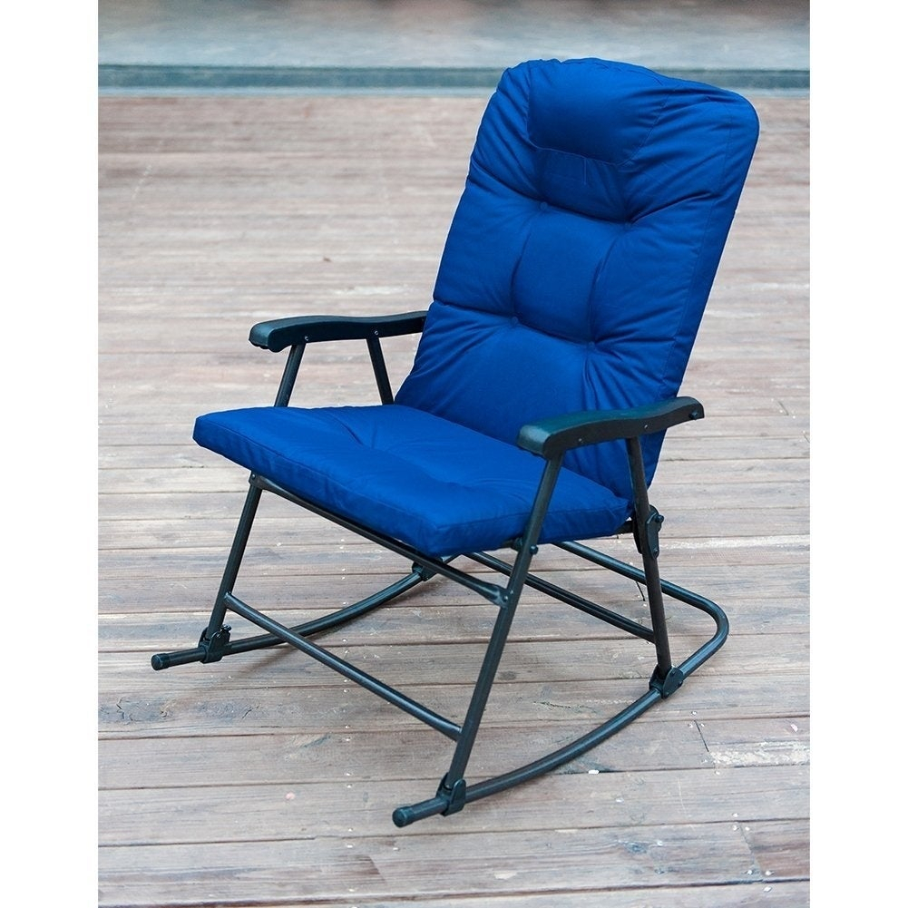 Havenside Home Chetumal Blue Cushion Folding Patio Rocking Chairs (Set Of 2) Inside Folding Bentwood Rocking Chairs With Extendable Footrest And Removable Cover (#18 of 20)