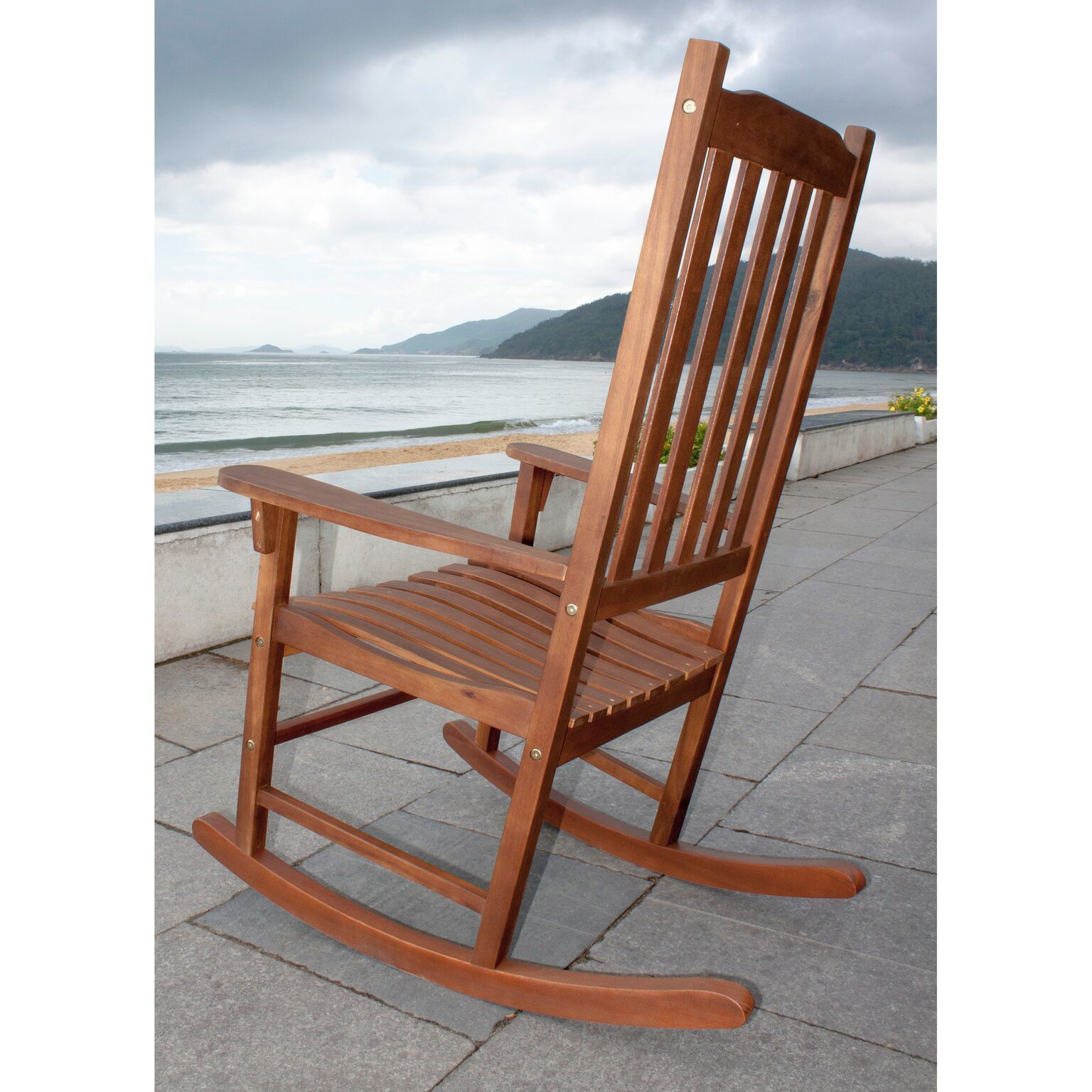 Havenside Home Togiak Traditional Acacia Hardwood Rocking Chair Throughout Traditional Indoor Acacia Wood Rocking Chairs With Cushions (#12 of 20)