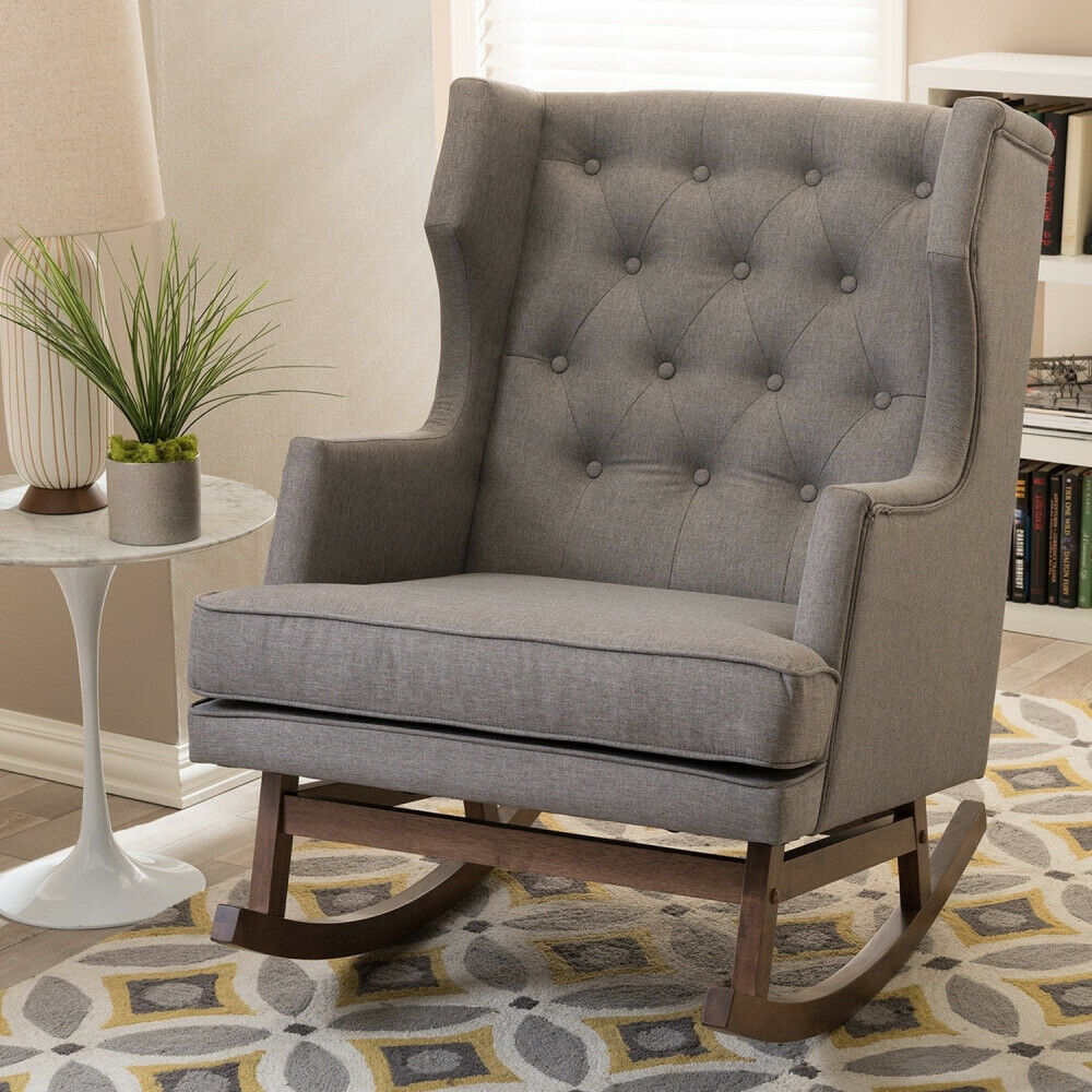 Higgins Contemporary Grey Fabric Rocking Chair Home Lounge Comfort Swivel  Rocker Inside Rocking Chairs & Lounge Chairs In Grey (View 5 of 20)