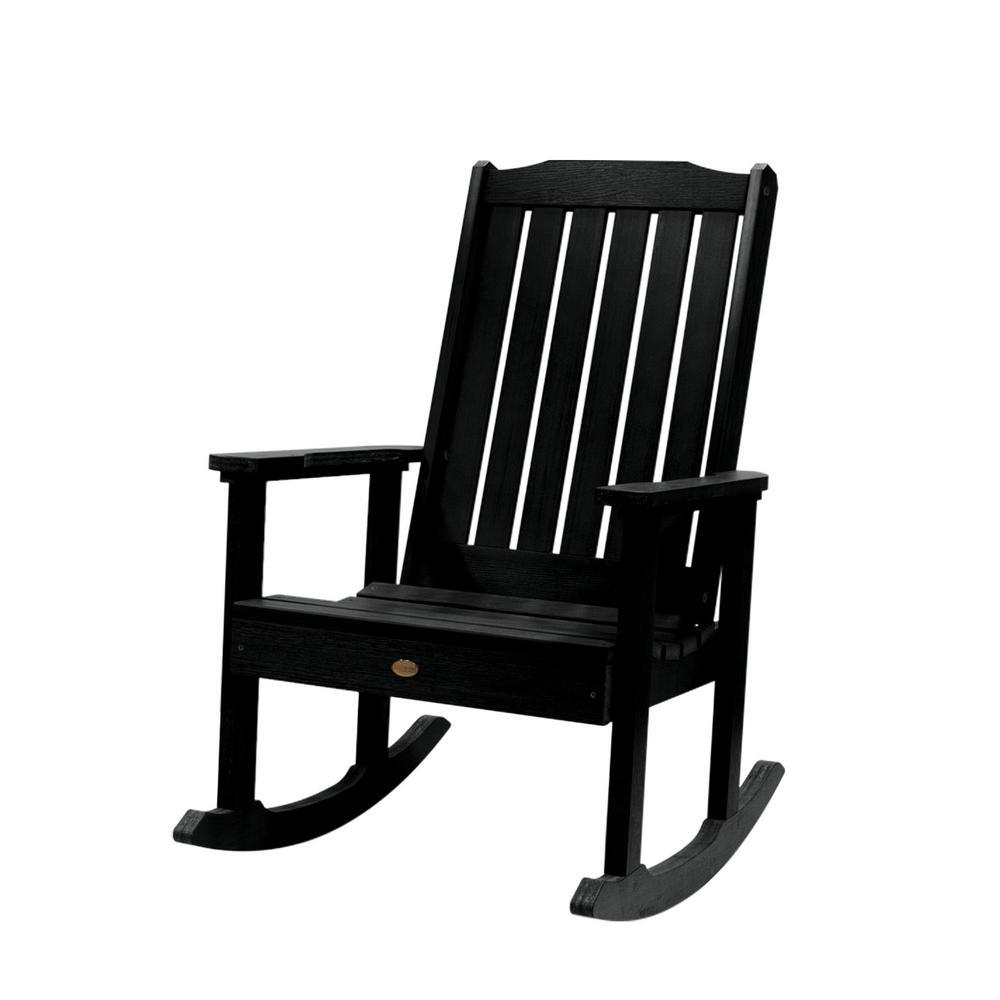 Highwood Lehigh Black Recycled Plastic Outdoor Rocking Chair In Black Plastic Rocking Chairs (#6 of 20)