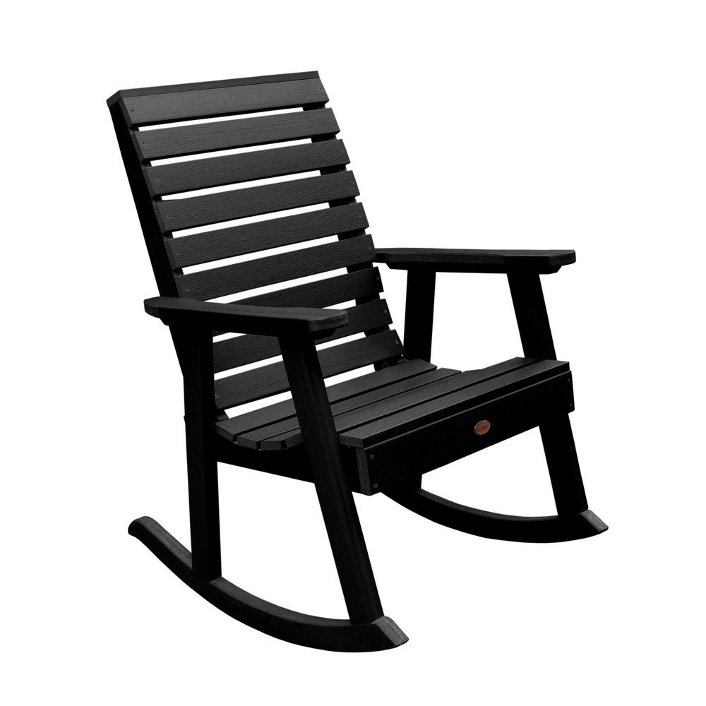 Highwood Weatherly Black Recycled Plastic Outdoor Rocking Chair Pertaining To Black Plastic Rocking Chairs (#7 of 20)