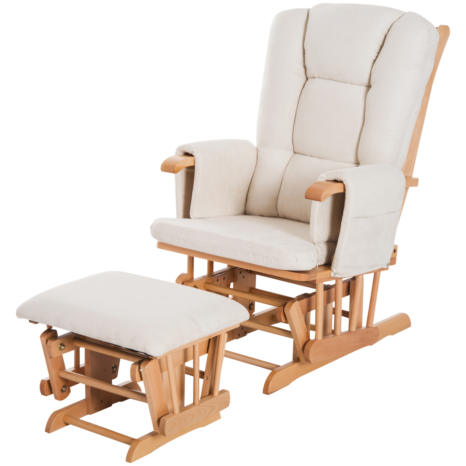 Homcom 2 Piece Glider Recliner Rocking Chair With Ottoman Set –  White/natural Wood Pertaining To Dark Oak Wooden Padded Faux Leather Rocking Chairs (#11 of 20)