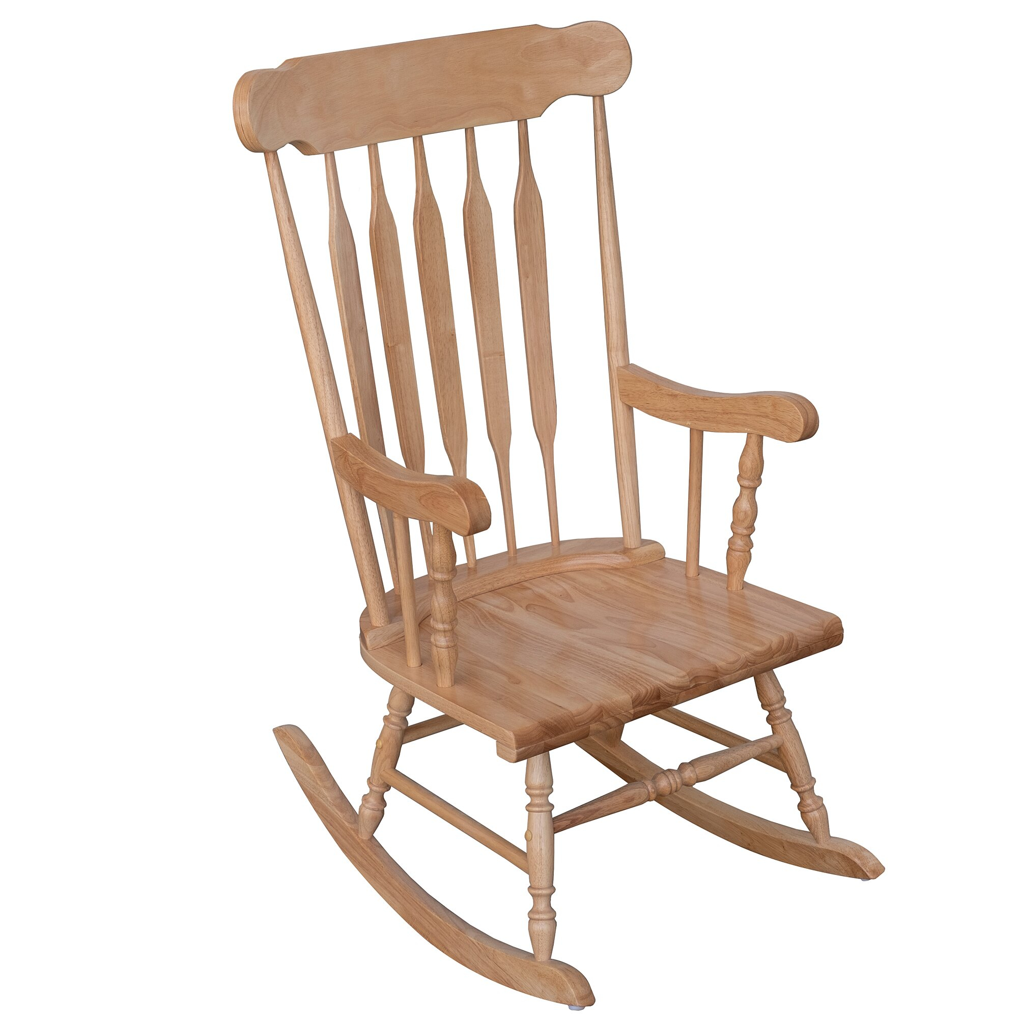 Homcom Traditional Slat Wood Rocking Chair Indoor Porch Furniture For Patio  Living Room – Natural Wood Color Throughout Traditional Wooden Porch Rocking Chairs (#9 of 20)