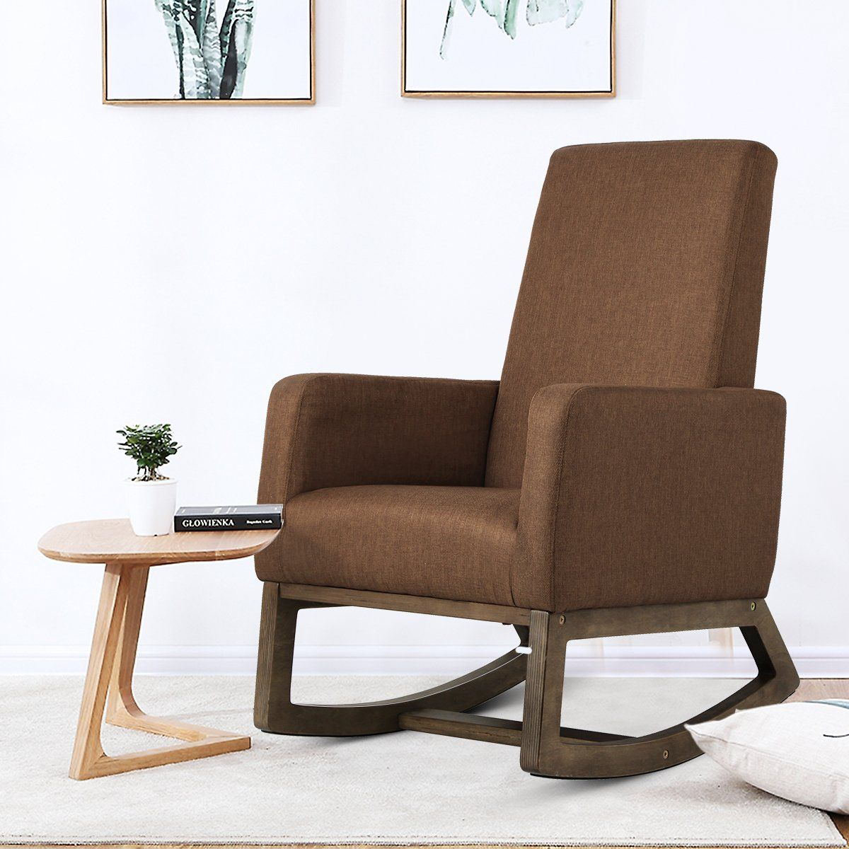 Homedex Fabric Morden Rocking Upholstered Relax Chair Pertaining To Espresso Brown Rocking Chairs (#12 of 20)