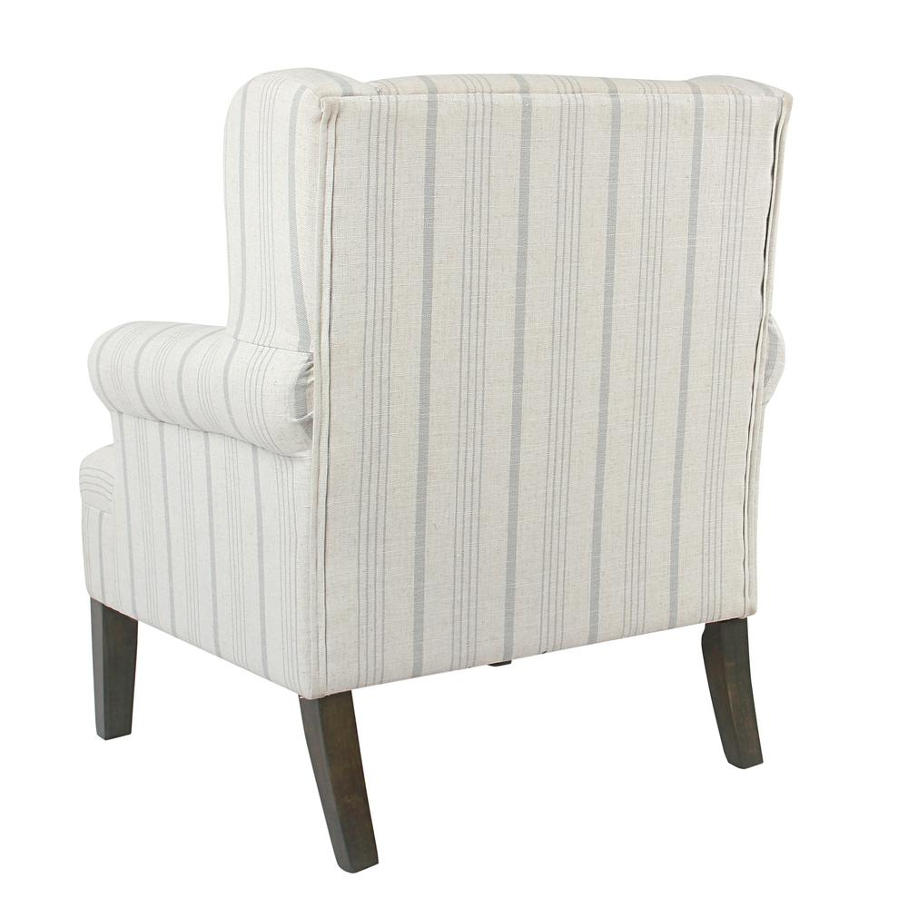 Homepop Striped Dove Grey Poly Linen Emerson Rolled Arm With Regard To Rocking Chairs In Linen Fabric With Medium Espresso Base (#5 of 20)