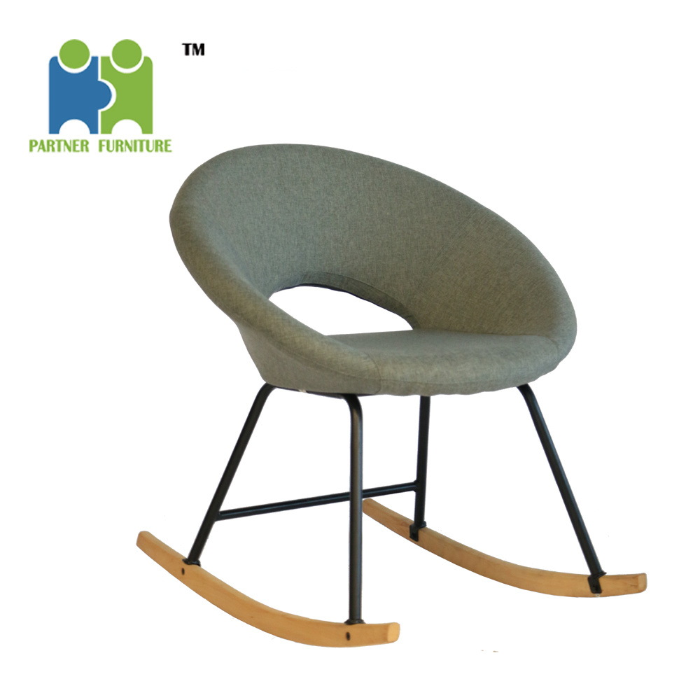 [hot Item] (victoria) 2019 Hot Selling Comfortable Relax Soft Fabric Cover Rocking Chair For Beige Fabric And Cherry Wood Rocking Chairs (View 18 of 20)