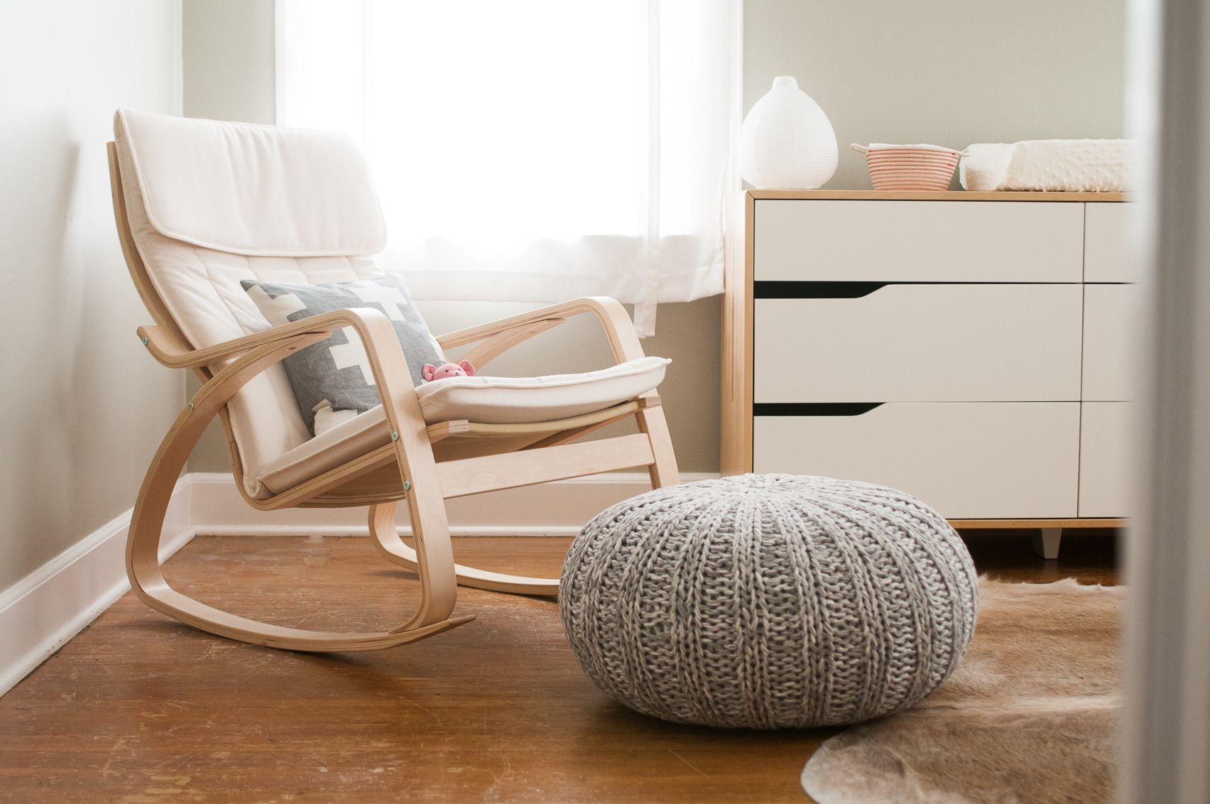 Ikea Poang Rocking Chair For Gray And White Nursery For Wooden Baby Nursery Rocking Chairs (#9 of 20)