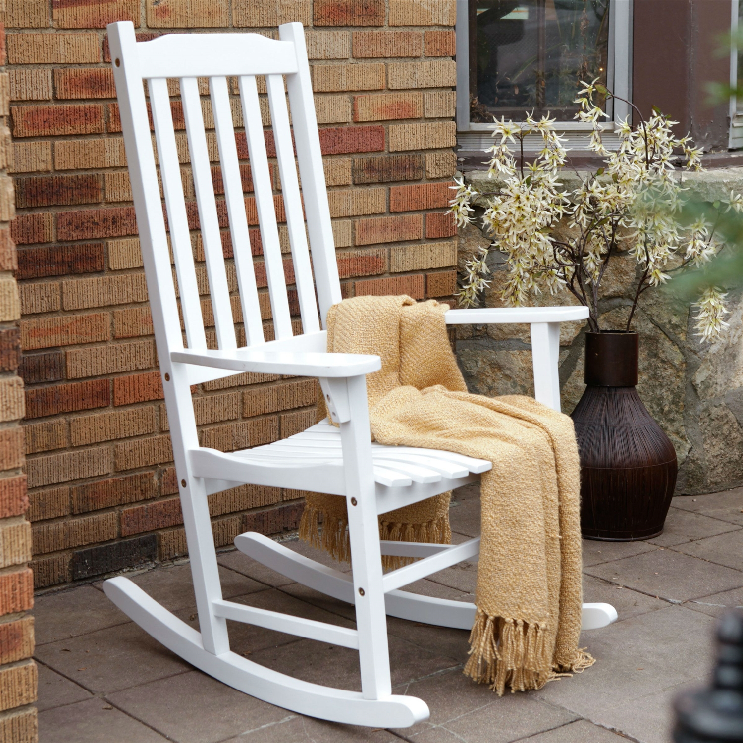 Indoor/outdoor Patio Porch White Slat Rocking Chair Throughout Indoor / Outdoor Porch Slat Rocking Chairs (#12 of 20)
