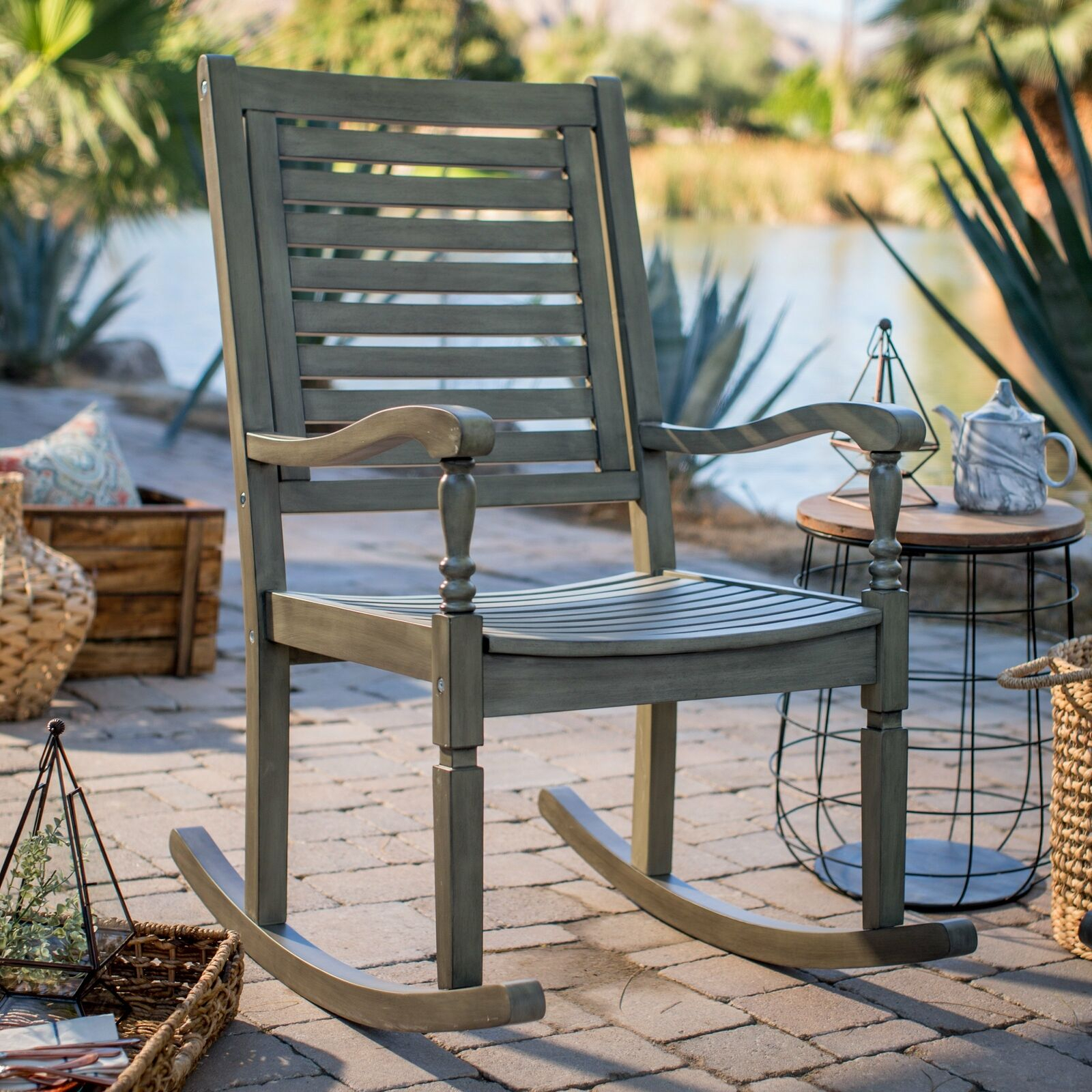 Indoor Outdoor Wood Porch Rocking Chair Vintage Gray Patio Rocker Seat  Furniture Intended For Liverpool Classic Style Rocking Chairs In Antique Oak Finish (#14 of 20)
