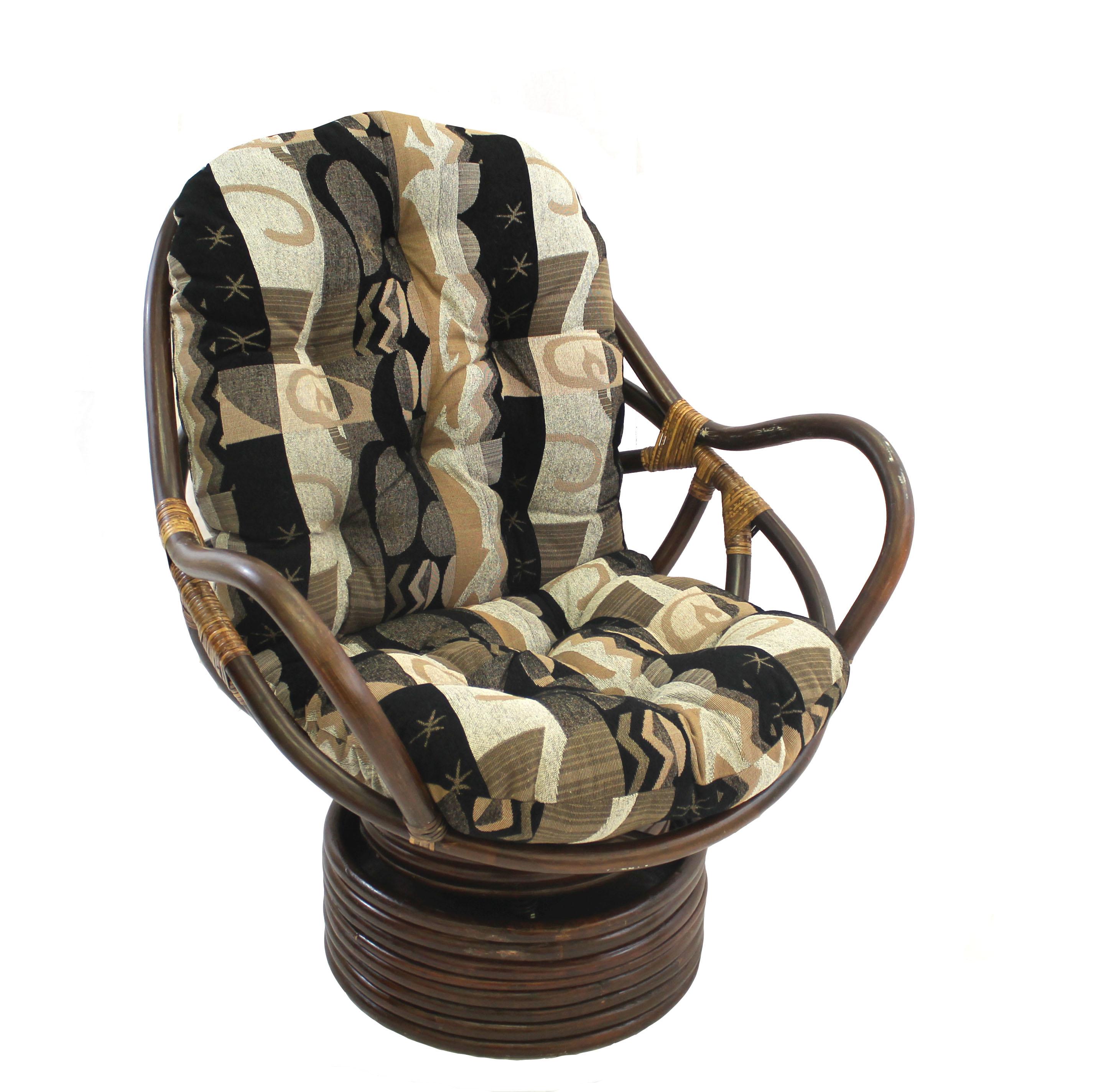 International Caravan Bali Swivel Rocker Chair With Chenille Cushion Inside Bali Brown Rocking Chairs (View 19 of 20)