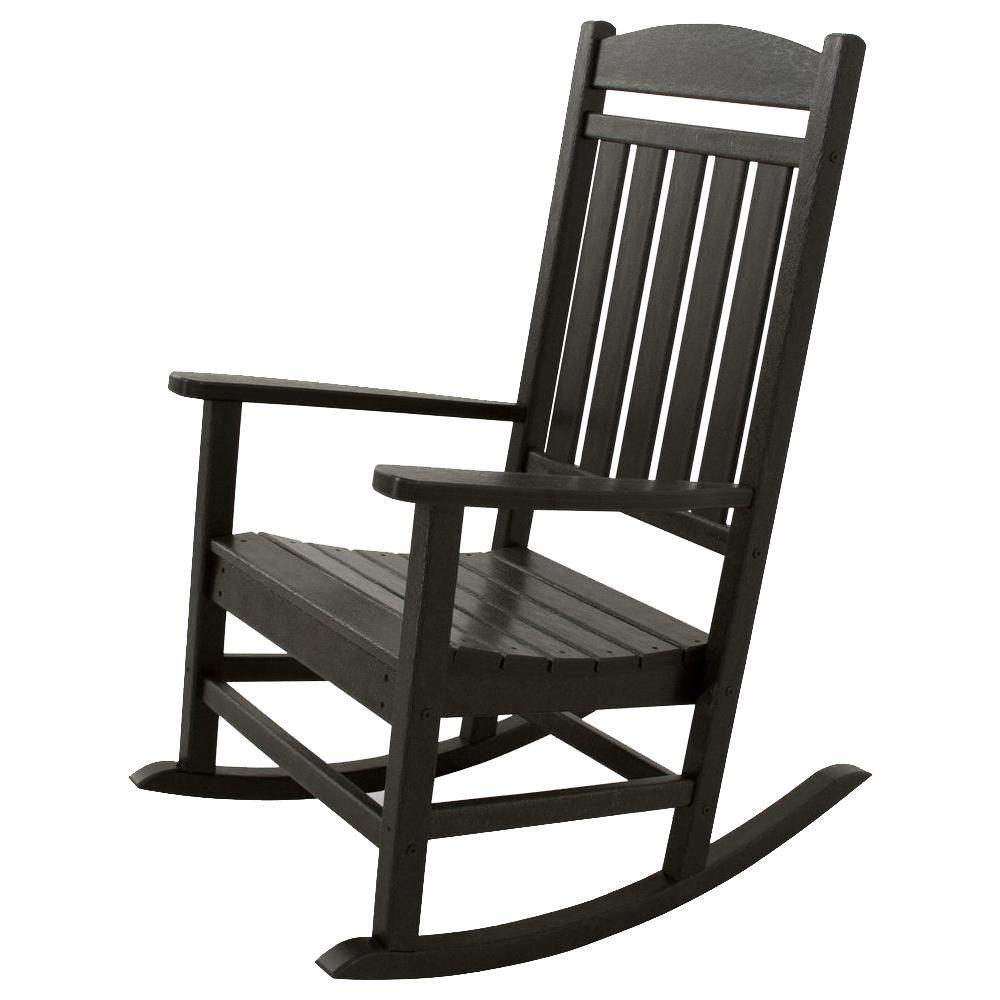 Ivy Terrace Classics Black Patio Rocker Pertaining To Traditional Style Wooden Rocking Chairs With Contoured Seat, Black (#12 of 20)