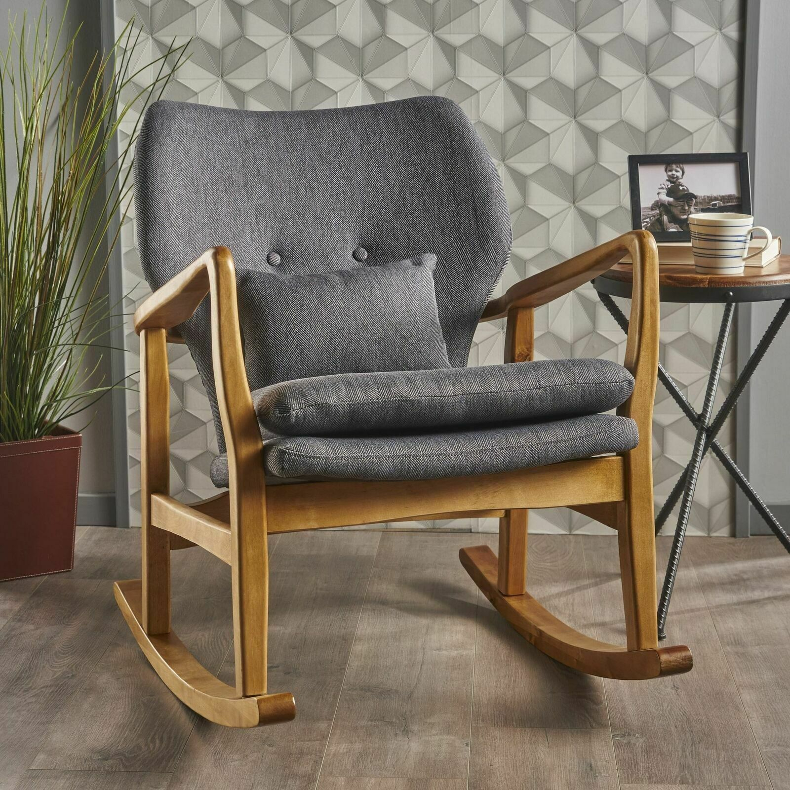 Jenny Mid Century Modern Dark Slate Fabric Rocking Chair Intended For Mid Century Fabric Rocking Chairs (#11 of 20)