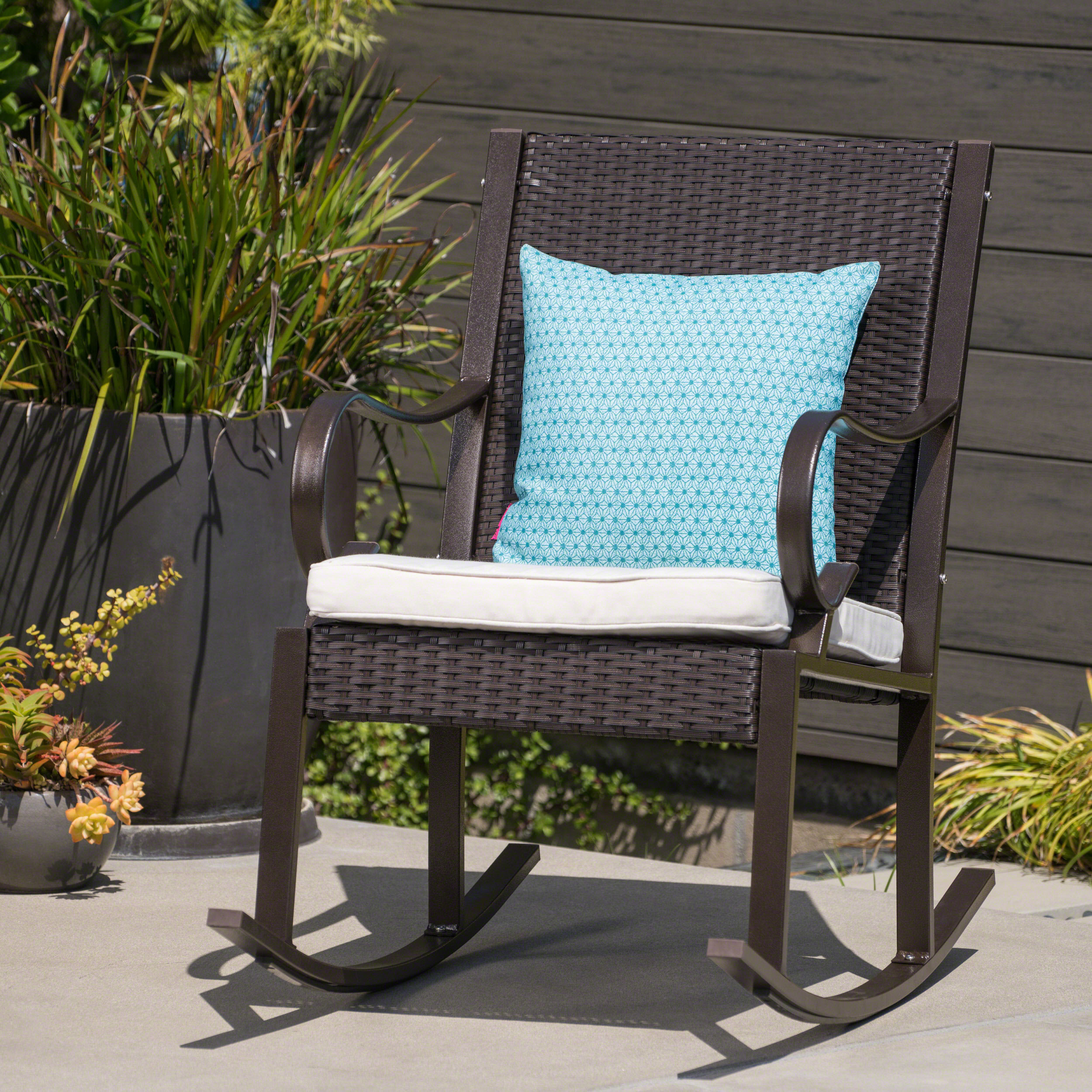 Kampmann Outdoor Wicker Rocking Chair With Cushions With Regard To Rocking Chairs, Cream And Brown (#10 of 20)