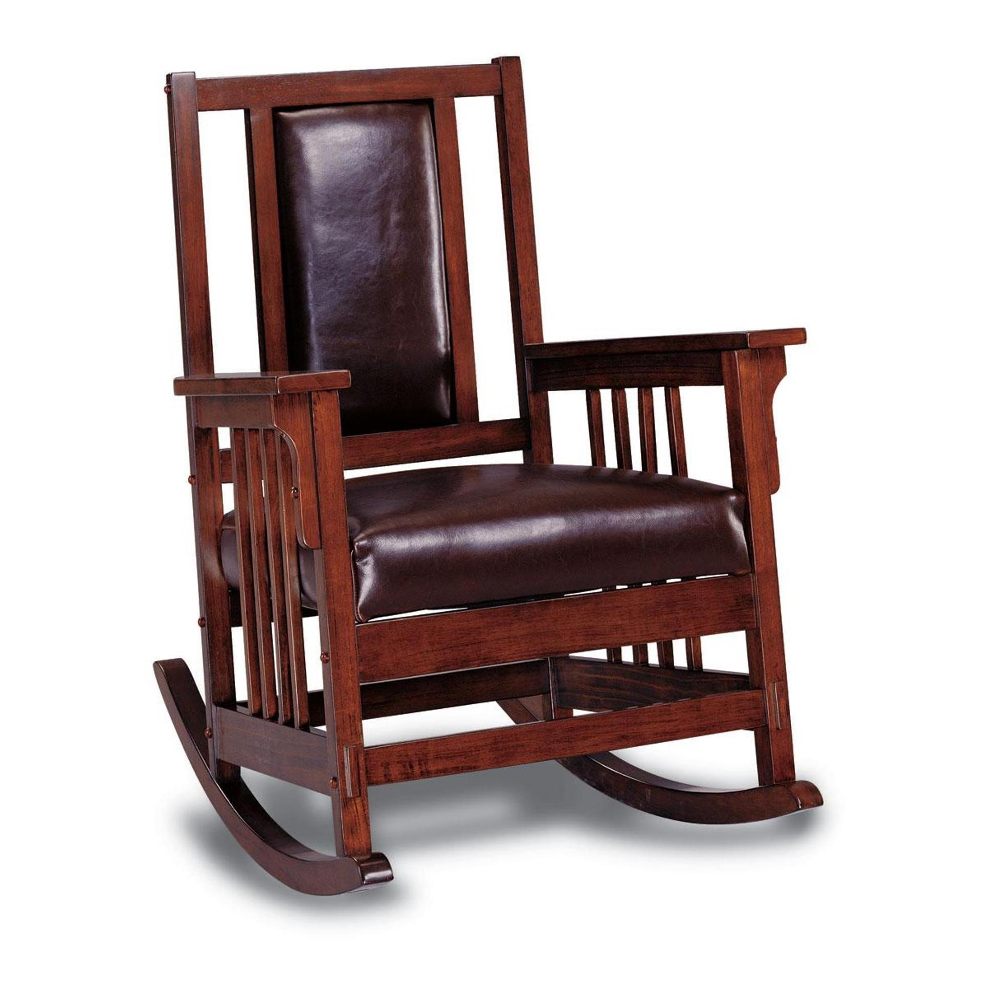 Kapelner Luxury Mission Style Rocking Chair In Rosewood Traditional Dark Oak Rocking Accent Chairs (View 4 of 20)