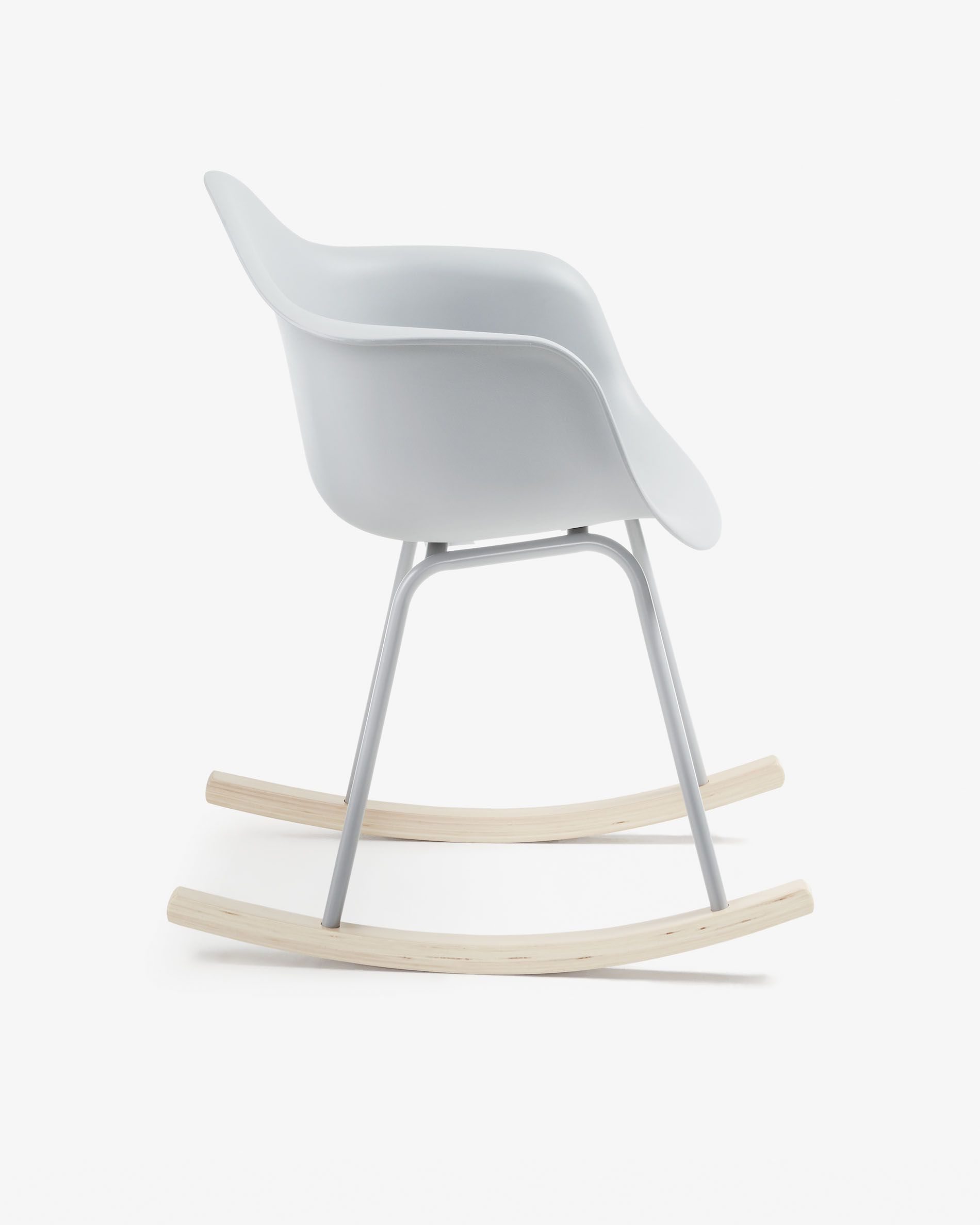 Kevya Rocking Chair Grey | Kave Home With Regard To Folding Bentwood Rocking Chairs With Extendable Footrest And Removable Cover (#19 of 20)