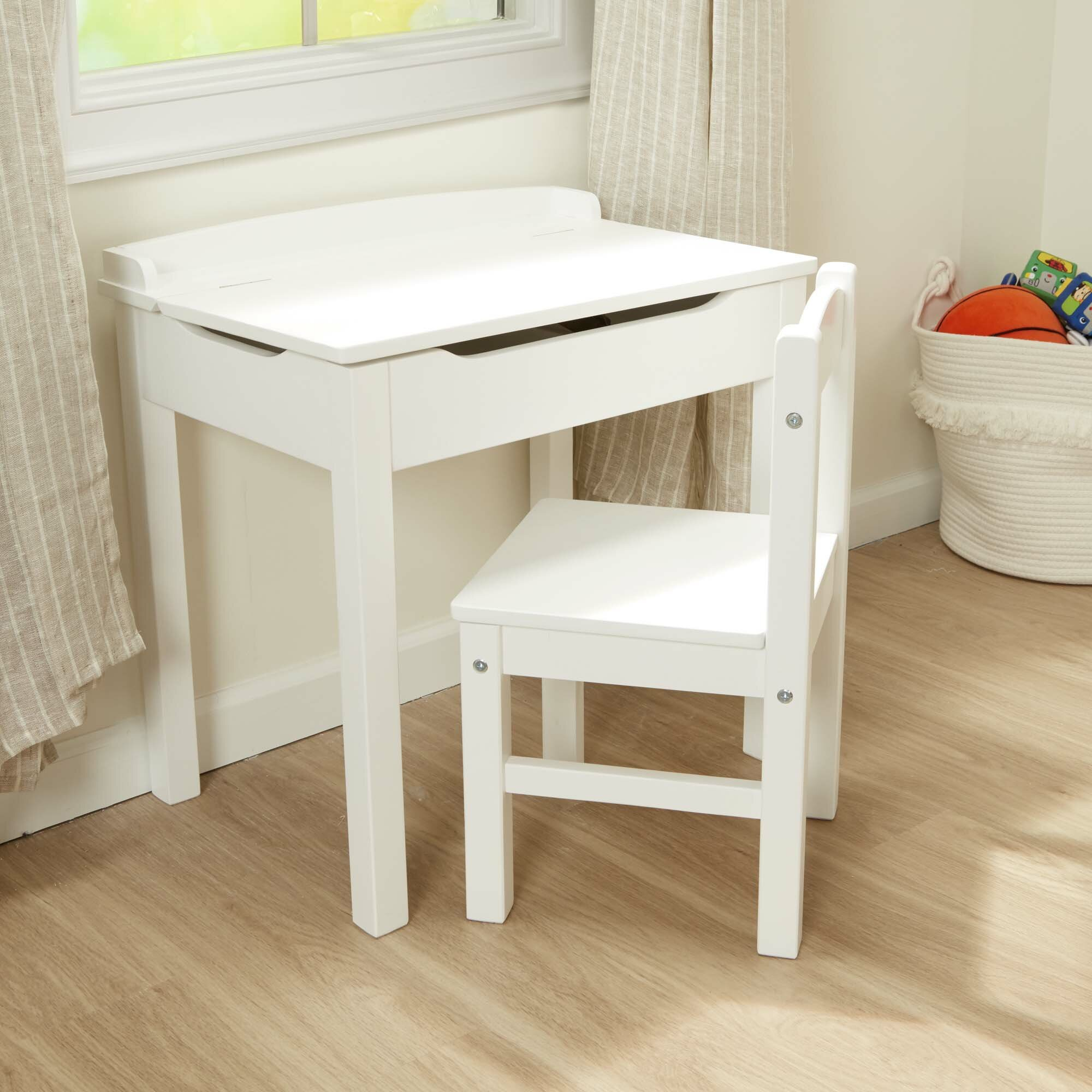 Kids Lift Top 2 Piece Writing Table And Chair Set Intended For Poppy Mission Espresso Rocking Chairs (#7 of 20)