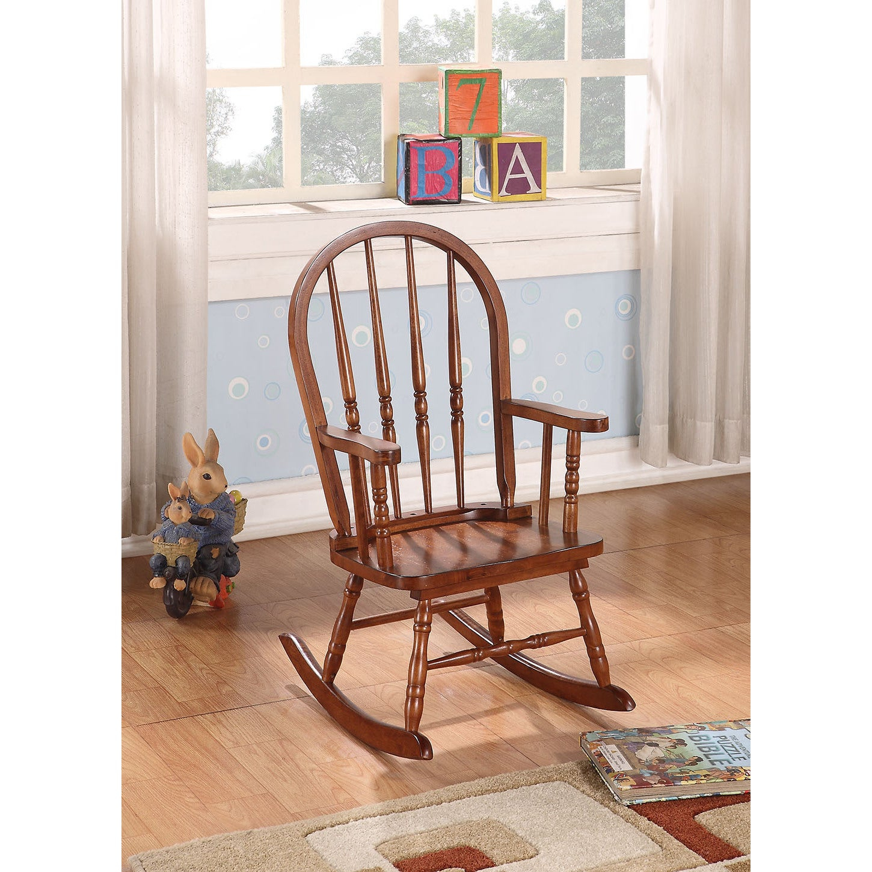Kloris Tobacco Brown Rubberwood Kids' Rocking Chair For Tobacco Brown Wooden Rocking Chairs (#10 of 20)