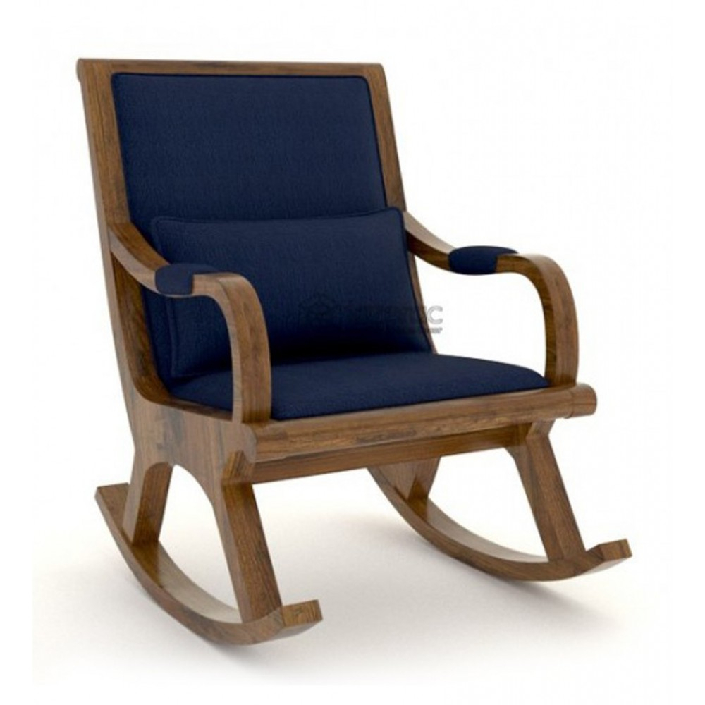 Lalsot Fabric & Solid Wood Rocking Chair In Blue Color Pertaining To Dark Walnut Brown Wooden Rocking Chairs (#14 of 20)