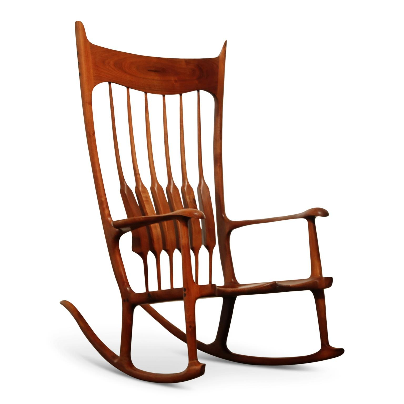 Large Scale Sam Maloof Style Studio Craftsman Rocking Chair, Signed And Dated Inside Rosewood Traditional Dark Oak Rocking Accent Chairs (View 9 of 20)