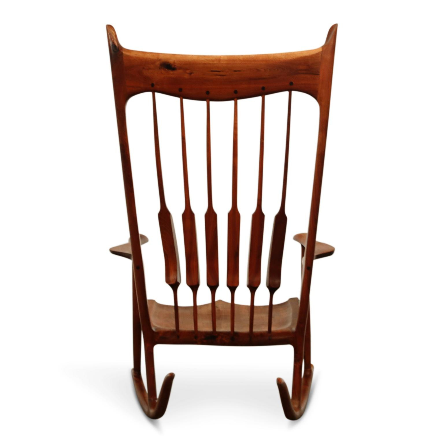 Large Scale Sam Maloof Style Studio Craftsman Rocking Chair, Signed And Dated Within Rosewood Traditional Dark Oak Rocking Accent Chairs (View 13 of 20)