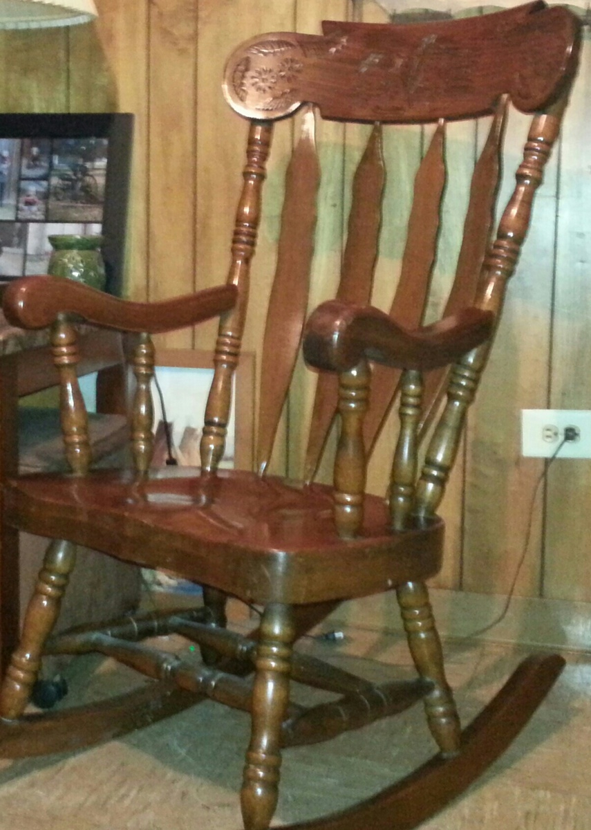 Popular Photo of Oak Carved Rocking Chairs Chairs