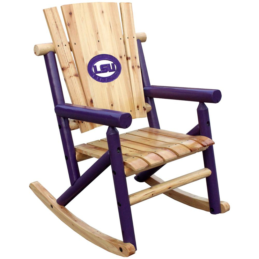 Leigh Country Aspen Wood Patio Rocking Chair With Lsu Medallion Regarding Natural Brown Wood Folding Rocking Chairs (#14 of 20)
