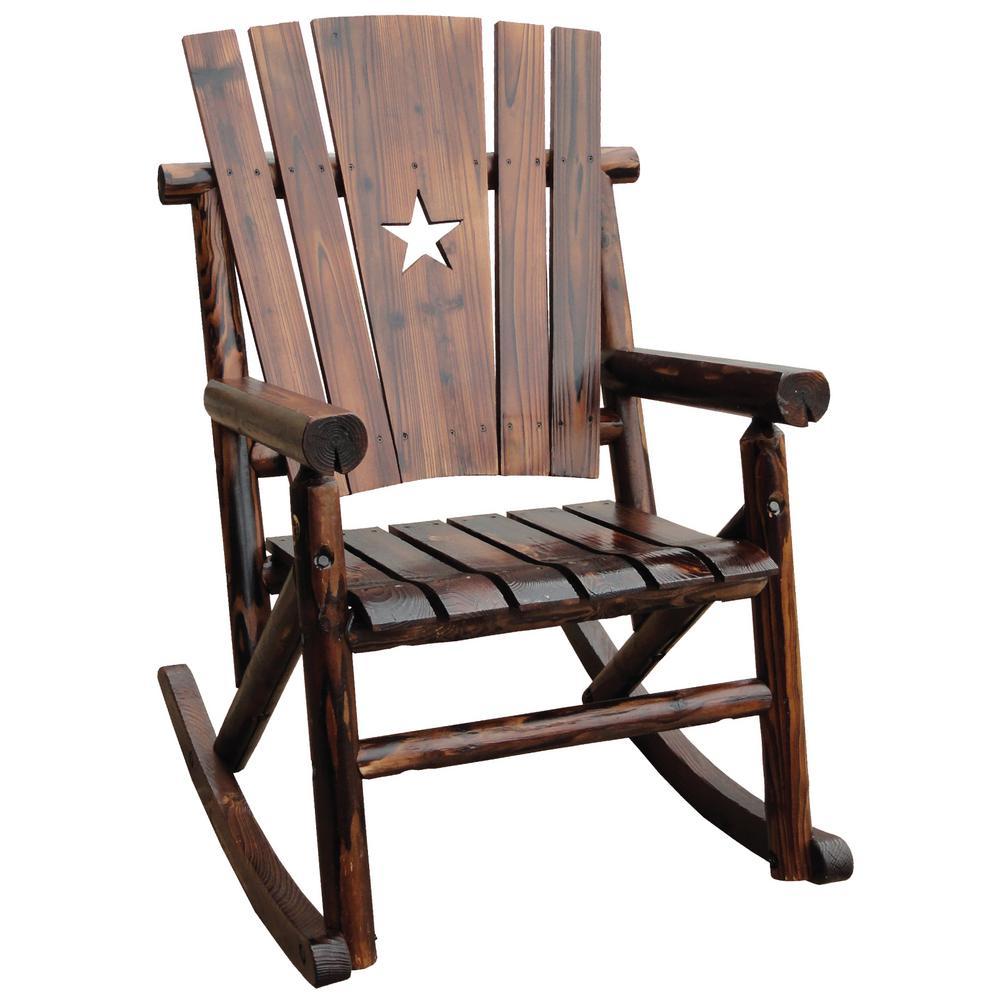 Leigh Country Char Log Patio Rocking Chair With Star With Natural Brown Wood Folding Rocking Chairs (#15 of 20)
