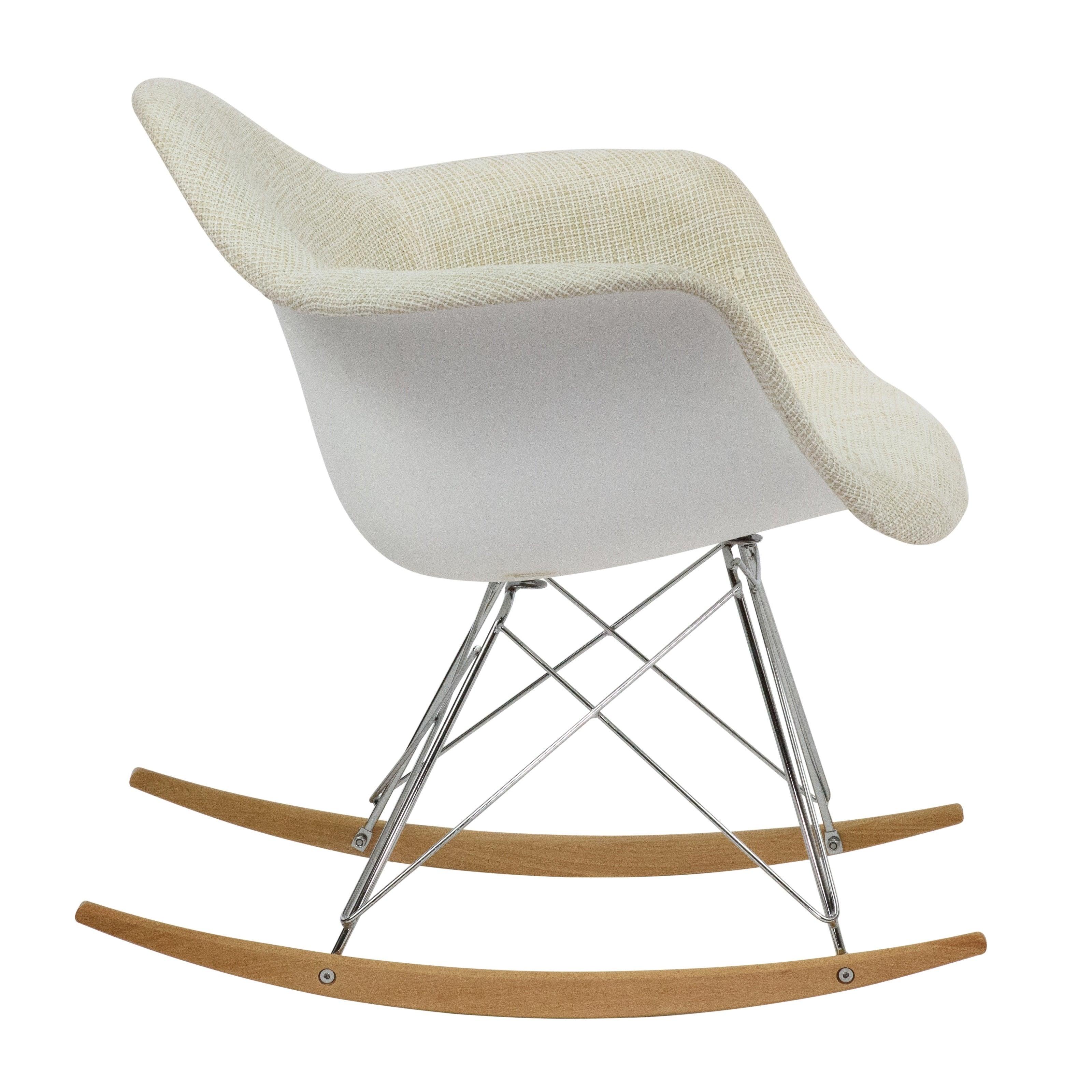 Leisuremod Wilson Twill Fabric Beige Rocking Chair W/ Eiffel Legs In Twill Fabric Multi Rocking Chairs With Eiffel Legs (View 4 of 20)