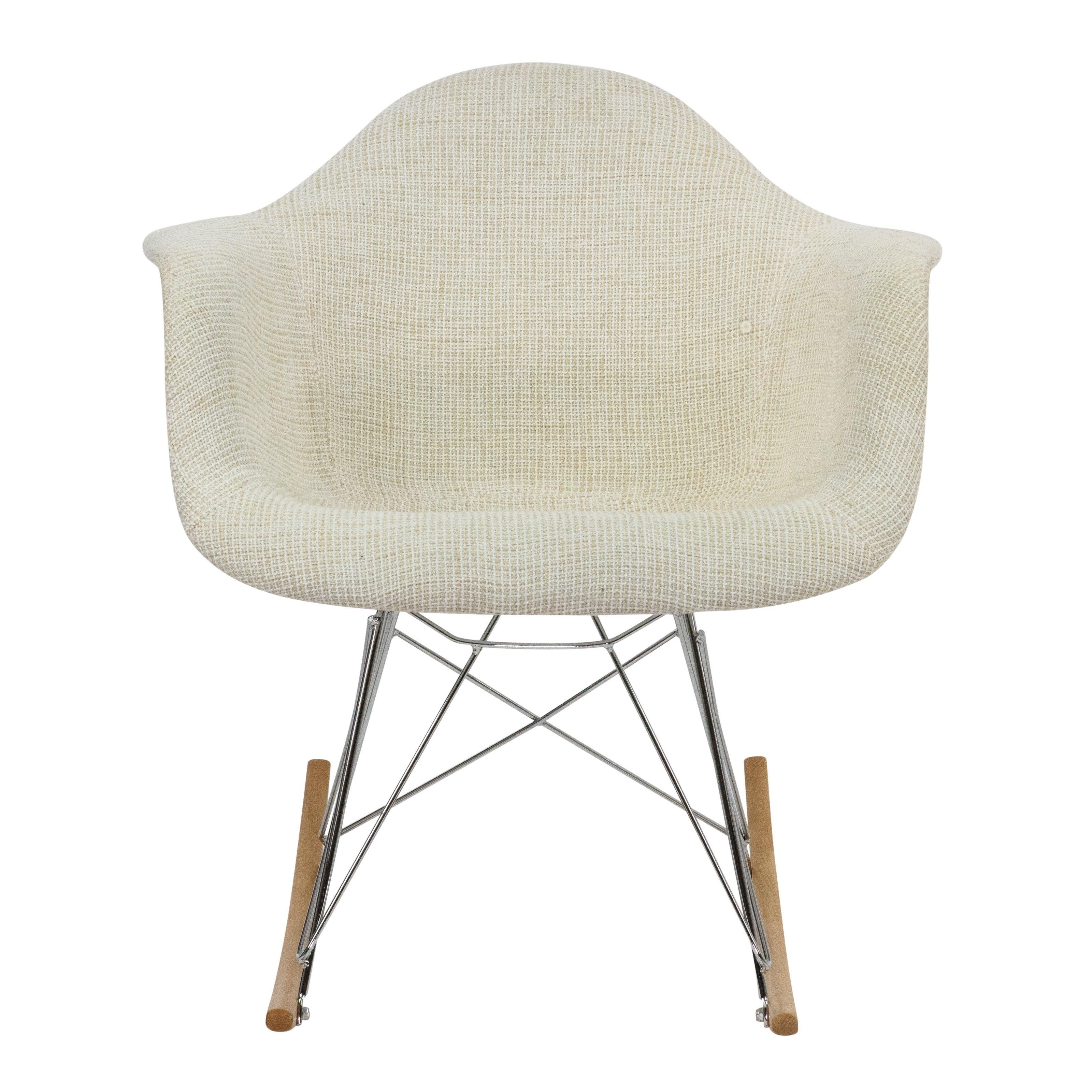Leisuremod Wilson Twill Fabric Beige Rocking Chair W/ Eiffel Legs Intended For Twill Fabric Beige Rocking Chairs With Eiffel Legs (#6 of 20)