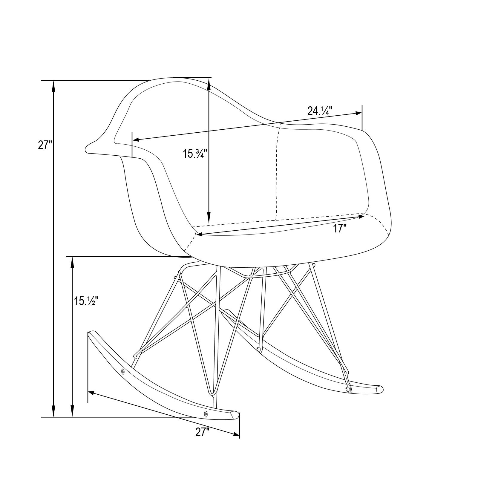 Leisuremod Wilson Twill Fabric Beige Rocking Chair W/ Eiffel Legs Pertaining To Twill Fabric Beige Rocking Chairs With Eiffel Legs (View 13 of 20)