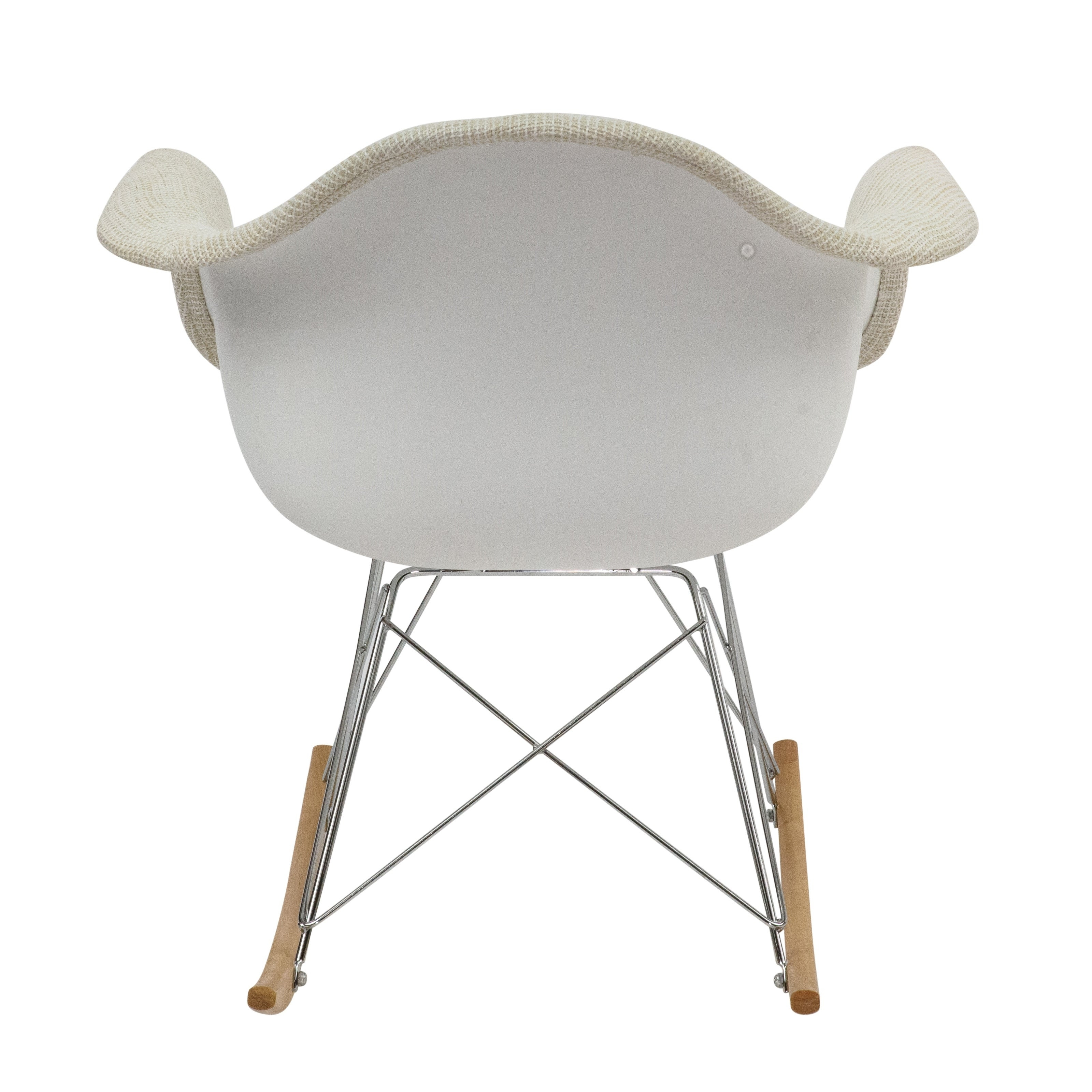 Leisuremod Wilson Twill Fabric Beige Rocking Chair W/ Eiffel Legs With Twill Fabric Beige Rocking Chairs With Eiffel Legs (#8 of 20)