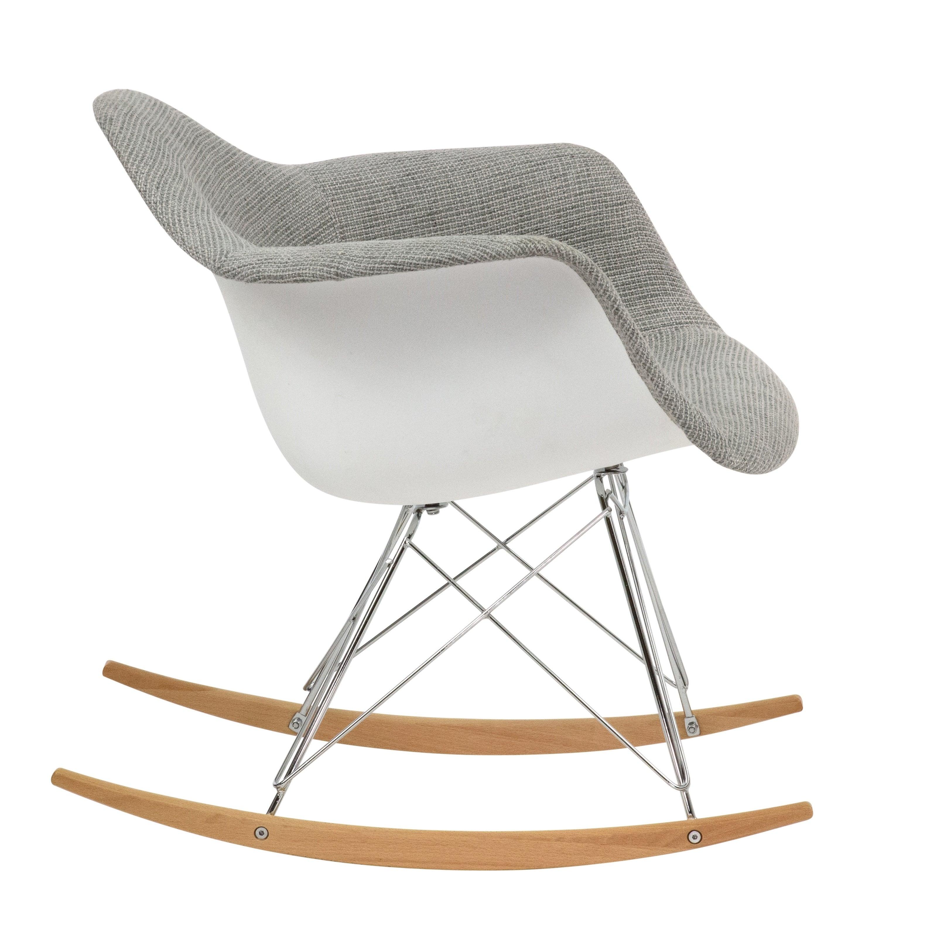 Leisuremod Wilson Twill Fabric Grey Rocking Chair W/ Eiffel Legs For Twill Fabric Multi Rocking Chairs With Eiffel Legs (View 5 of 20)