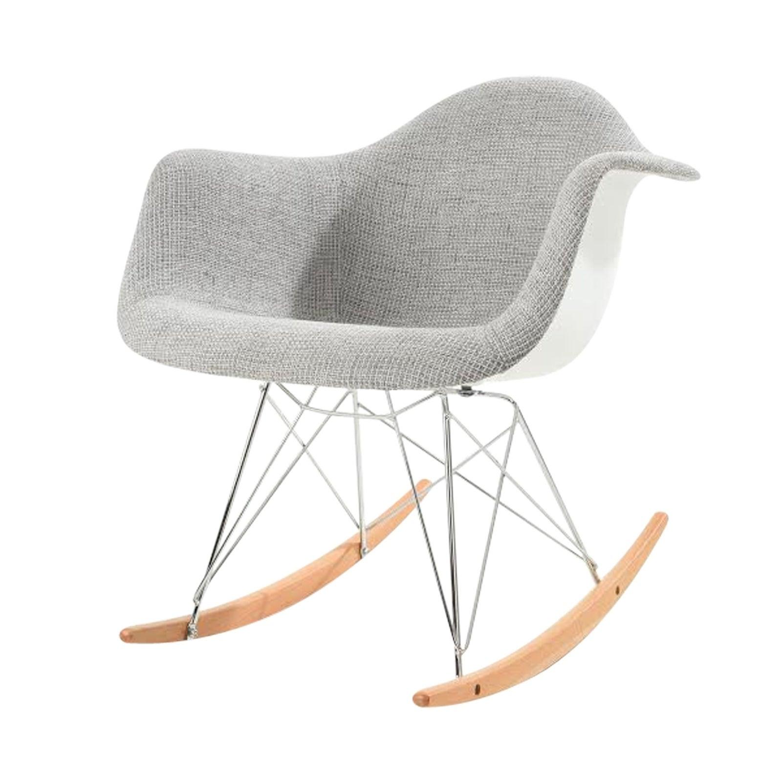 Leisuremod Wilson Twill Fabric Grey Rocking Chair W/ Eiffel Legs Pertaining To Twill Fabric Beige Rocking Chairs With Eiffel Legs (View 8 of 20)