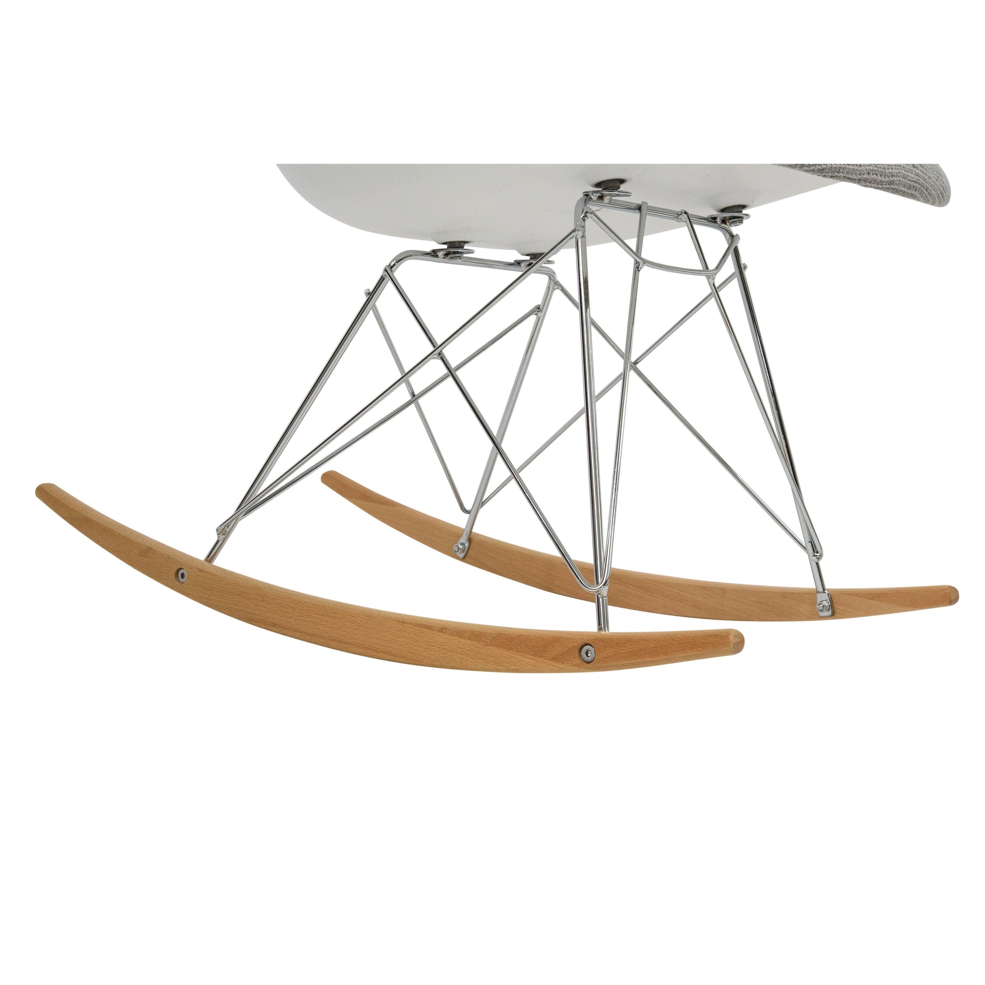 Leisuremod Wilson Twill Fabric Grey Rocking Chair W/ Eiffel Legs With Regard To Twill Fabric Multi Rocking Chairs With Eiffel Legs (View 19 of 20)