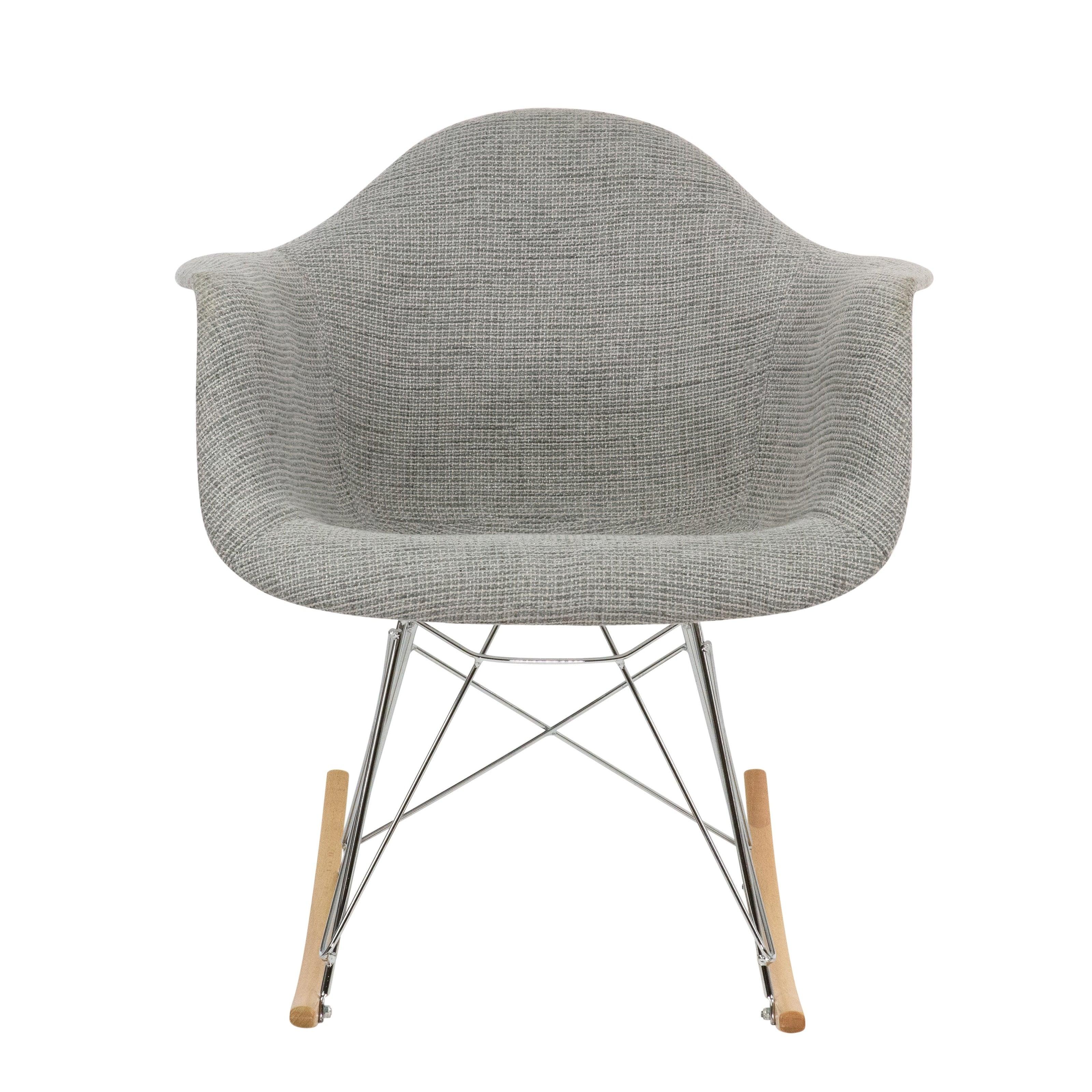 Leisuremod Wilson Twill Fabric Grey Rocking Chair W/ Eiffel Legs With Twill Fabric Multi Rocking Chairs With Eiffel Legs (View 9 of 20)