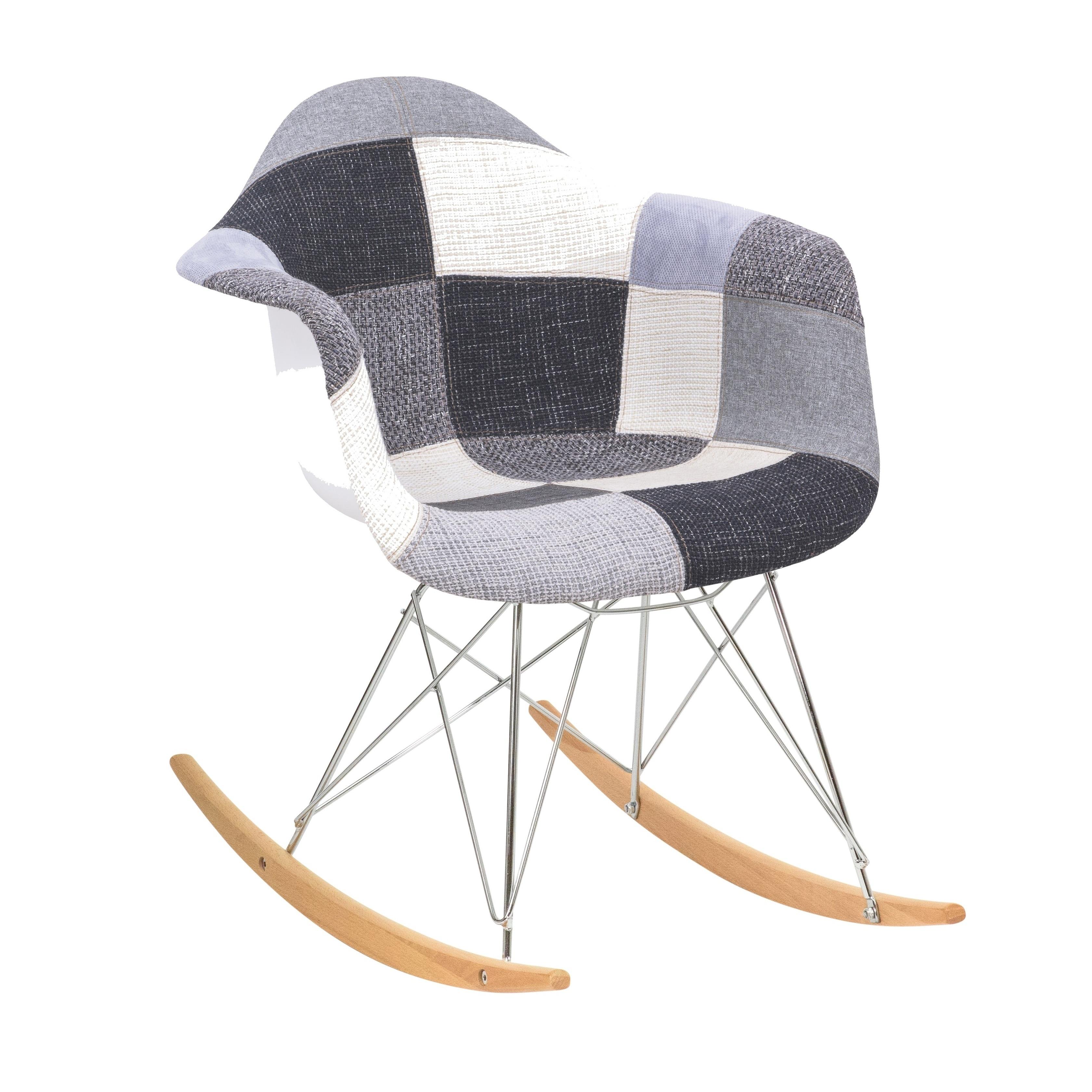 Leisuremod Wilson Twill Fabric Multi Rocking Chair W/ Eiffel Regarding Twill Fabric Beige Rocking Chairs With Eiffel Legs (#11 of 20)