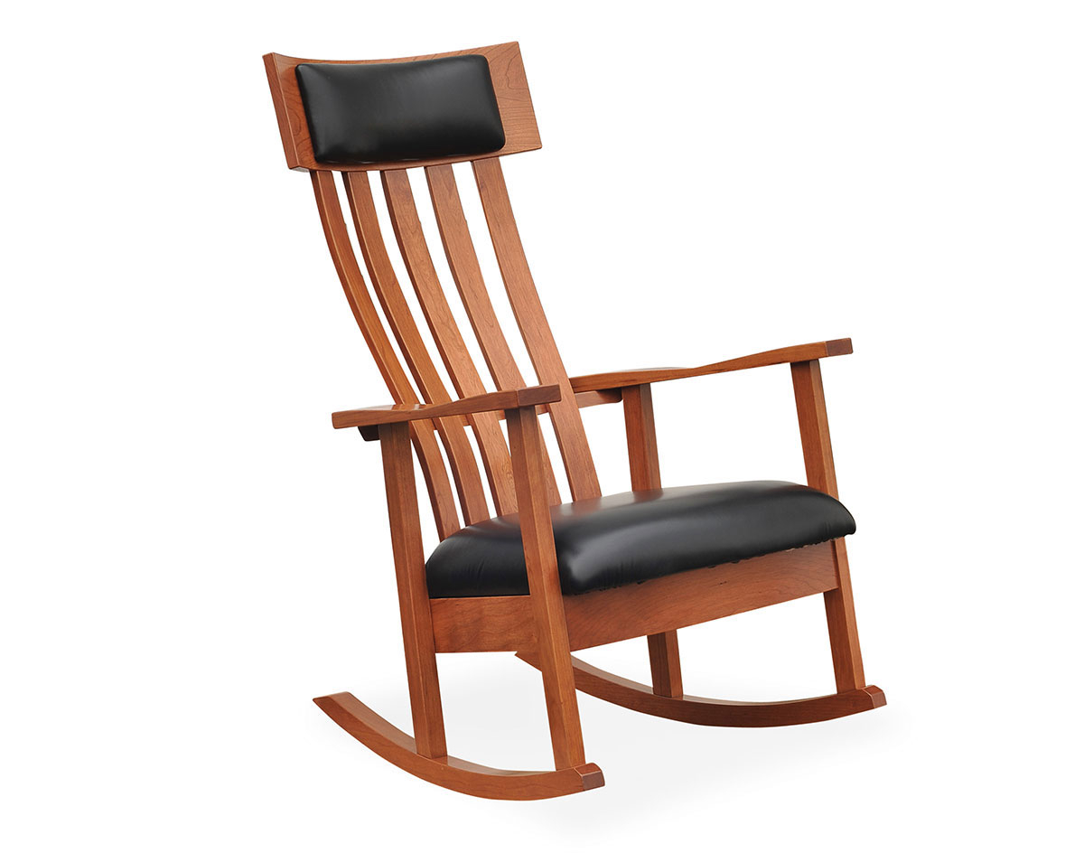 Leland Rocking Chair With Regard To Colonial Cherry Finish Rocking Chairs (#15 of 20)