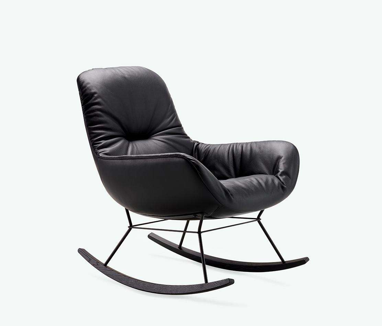 Leya Rocking Lounge Chair Mit Schaukel Drahtgestell Throughout Rocking Chairs & Lounge Chairs In Grey (#6 of 20)