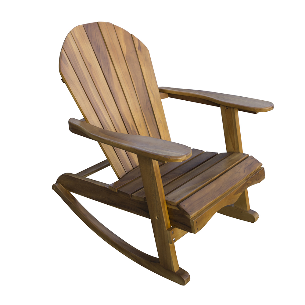 Lincombe Adirondack Teak Hardwood Garden Rocking Chair In Elegant Tobacco Brown Wooden Rocking Chairs (#9 of 20)