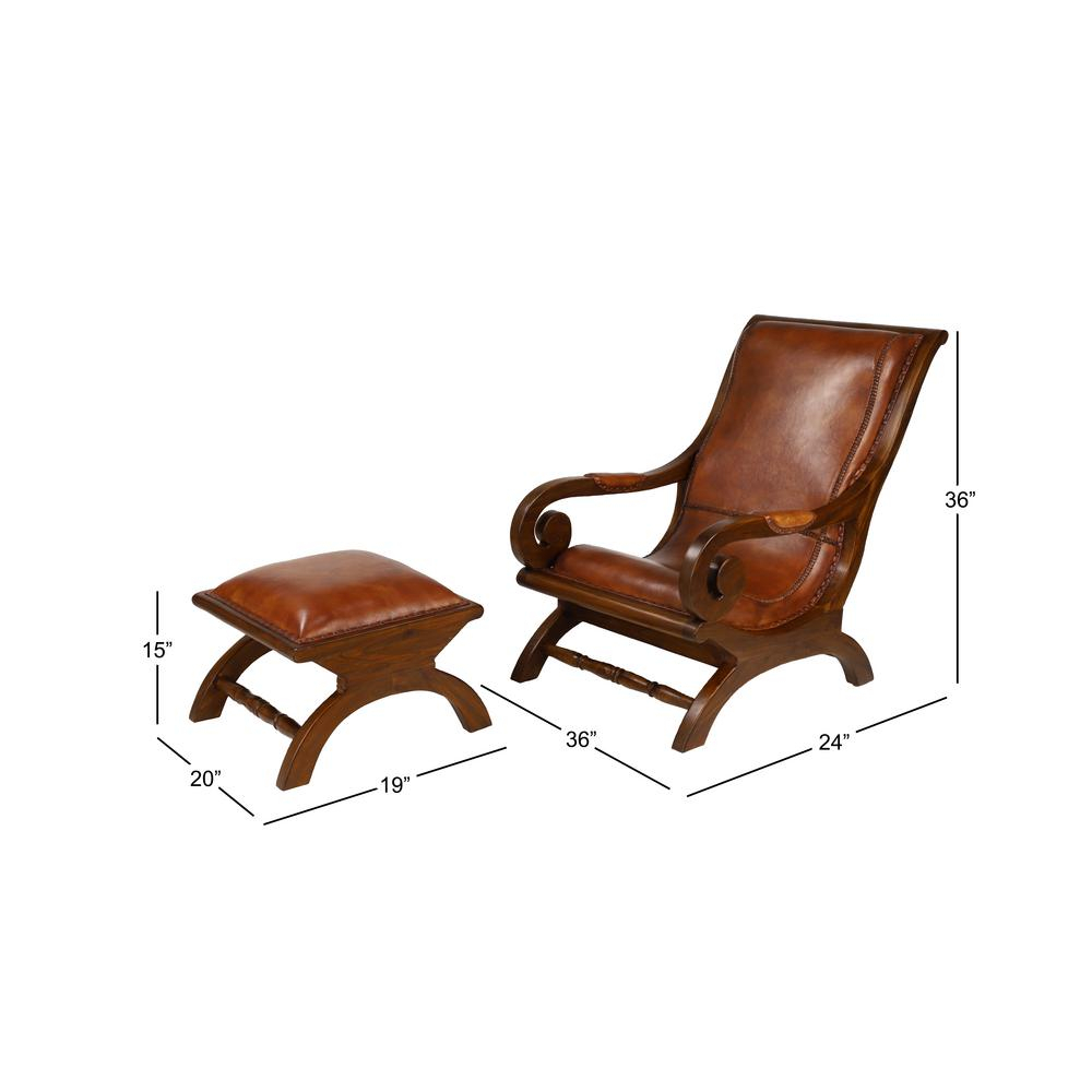 Litton Lane Brown Teak Wood And Leather Chair And Ottoman Inside Dark Oak Wooden Padded Faux Leather Rocking Chairs (#13 of 20)