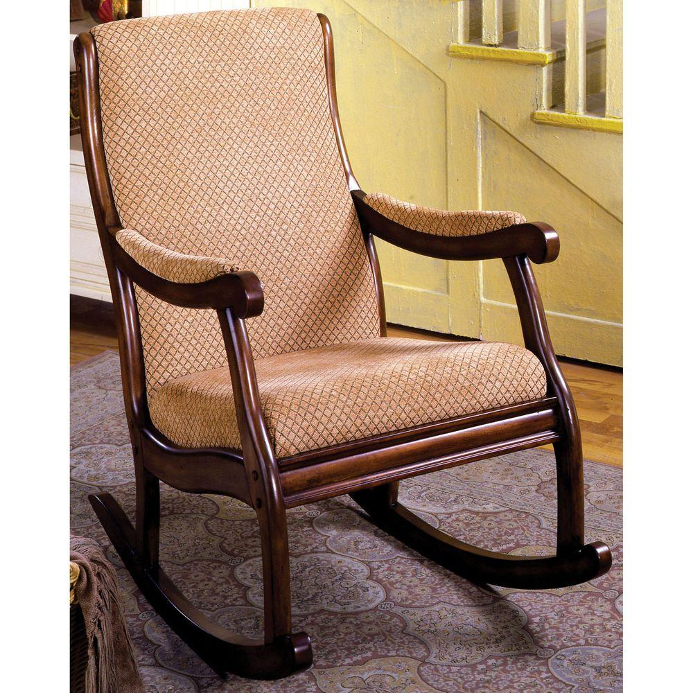 Liverpool Antique Oak Fabric Rocking Arm Chair Throughout Beige Fabric And Cherry Wood Rocking Chairs (View 7 of 20)