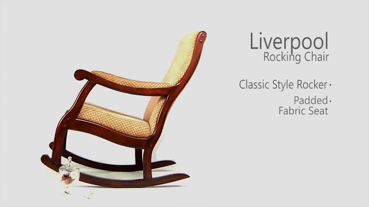 Liverpool Fabric Rocking Chair With Liverpool Classic Style Rocking Chairs In Antique Oak Finish (#16 of 20)
