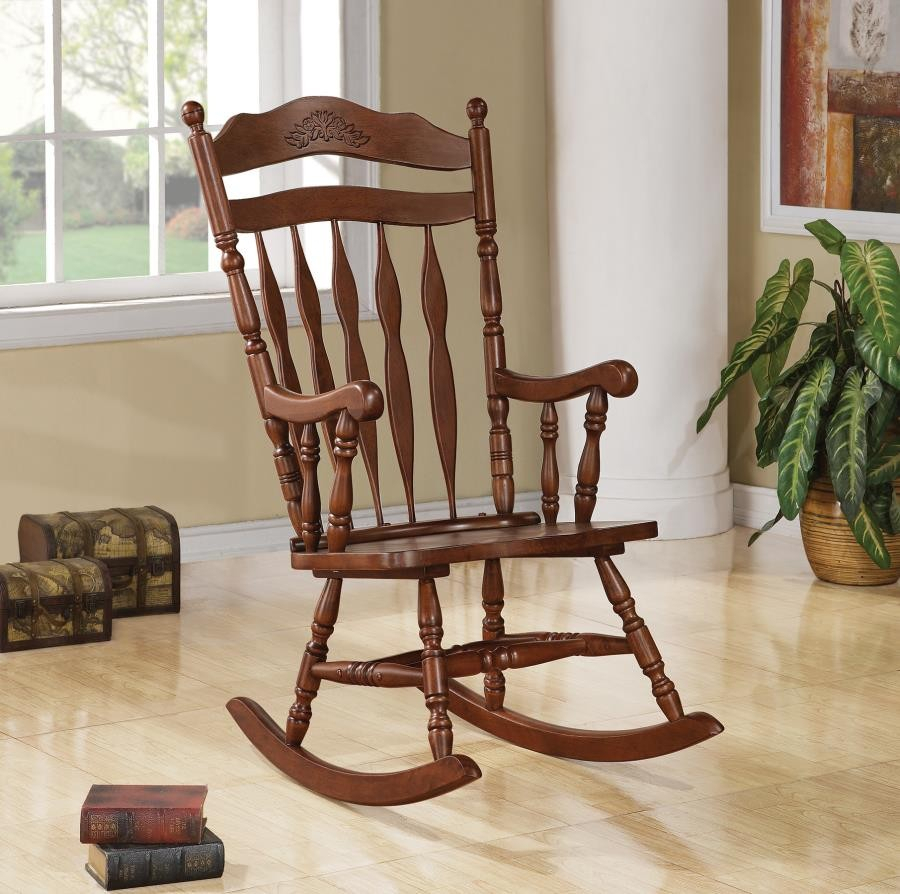 Living Room: Rocking Chairs – Traditional Medium Brown Rocking Chair Inside Brady Traditional White Rocking Chairs (#11 of 20)