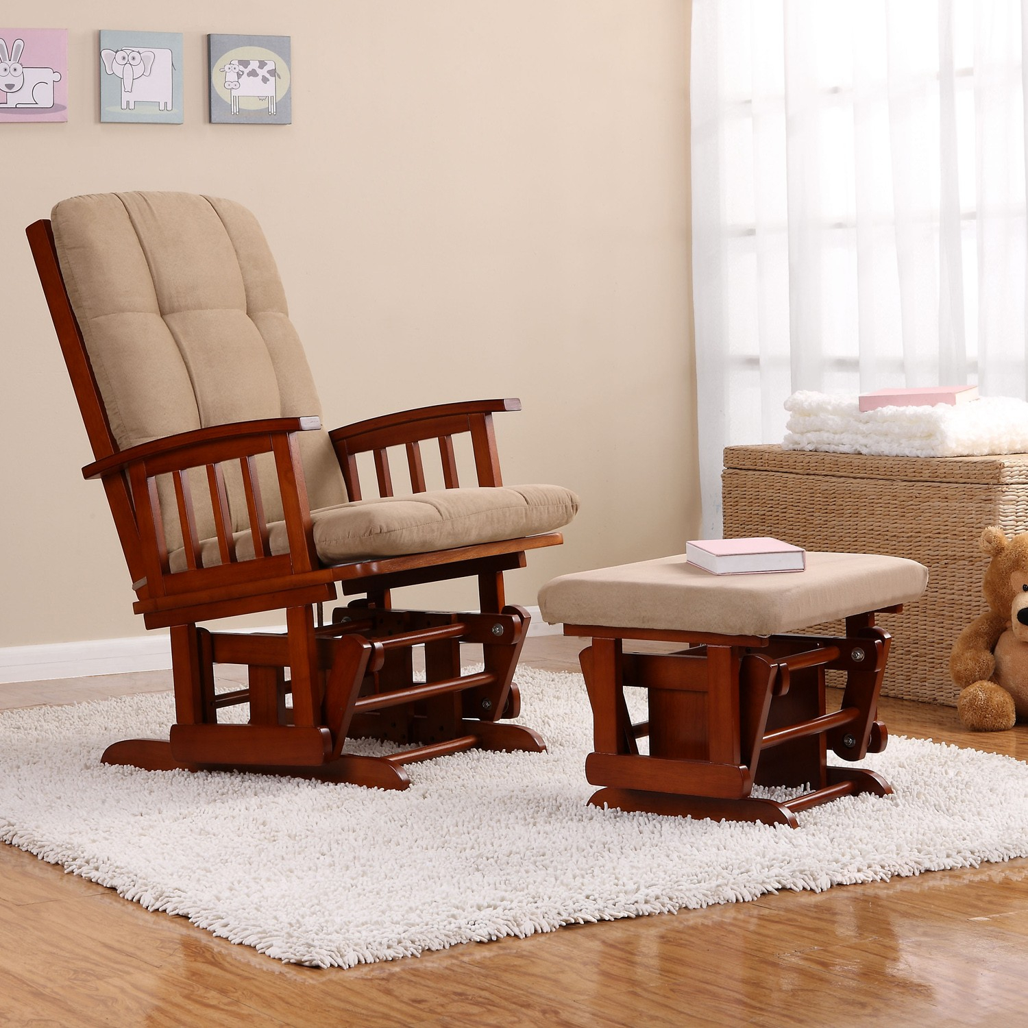 Living Room : Trendy Living Room Rocking Chair Ideas With Throughout Wooden Rocking Chairs With Fabric Upholstered Cushions, White (View 12 of 20)