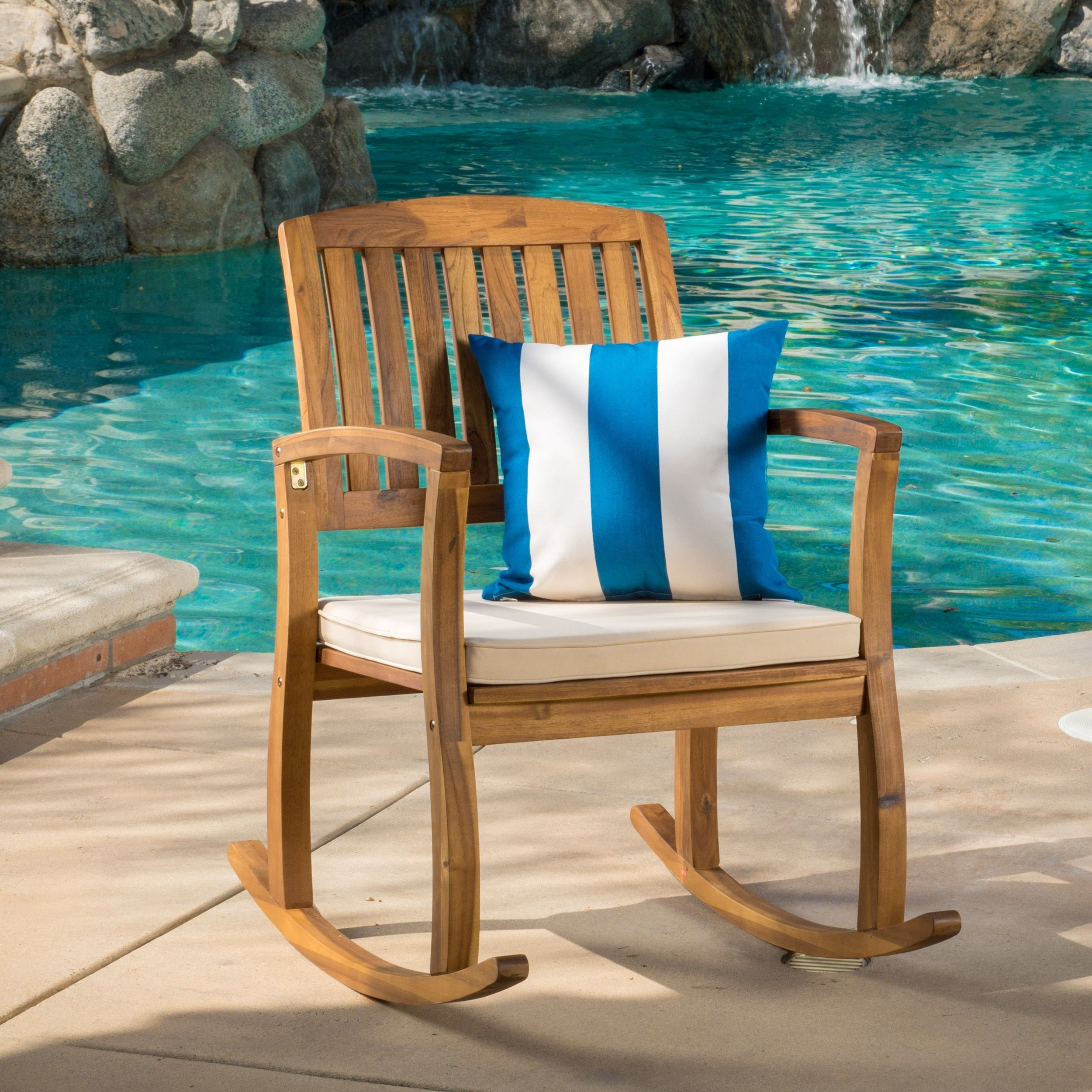 Lucca Outdoor Acacia Wood Rocking Chair With Cushionchristopher Knight  Home Within Traditional Indoor Acacia Wood Rocking Chairs With Cushions (#13 of 20)